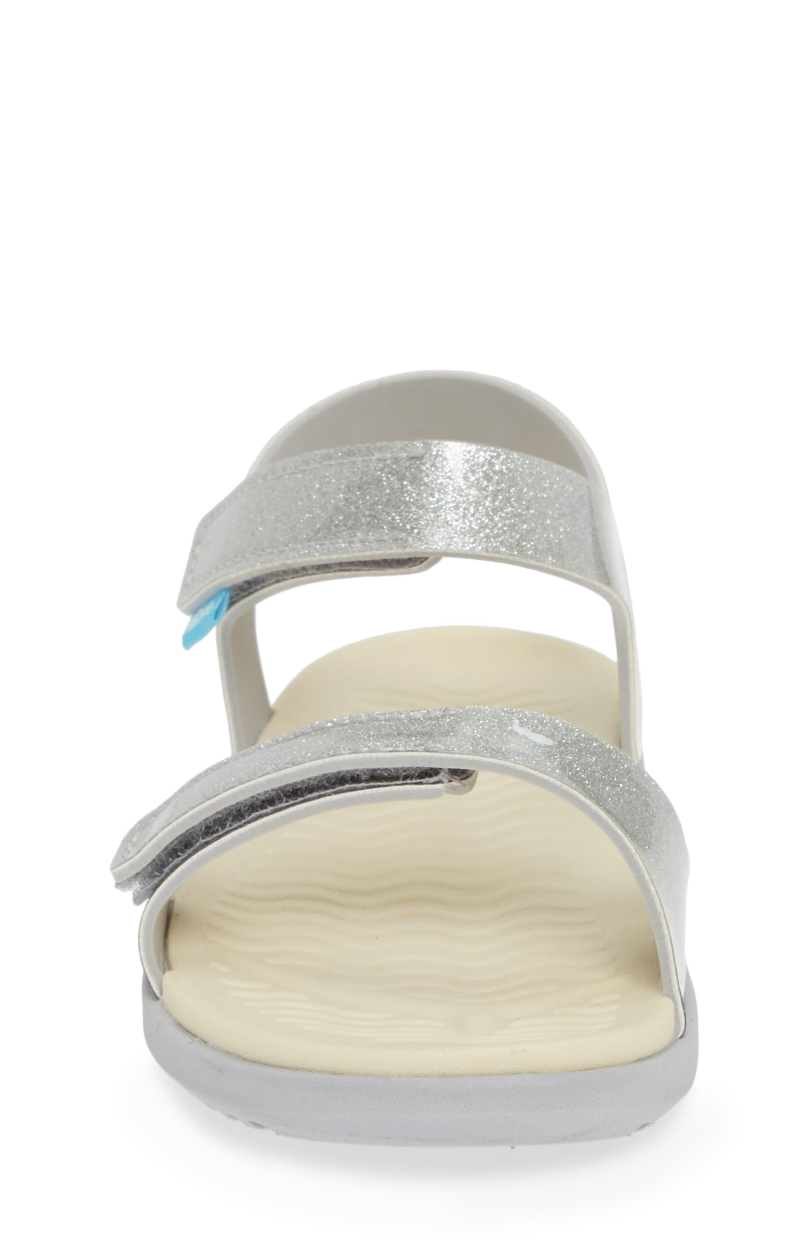 Charley Child Waterproof Flat Vegan Sandal,                             Alternate thumbnail 4, color,                             SILVER GLITTER/ WHITE/ GREY