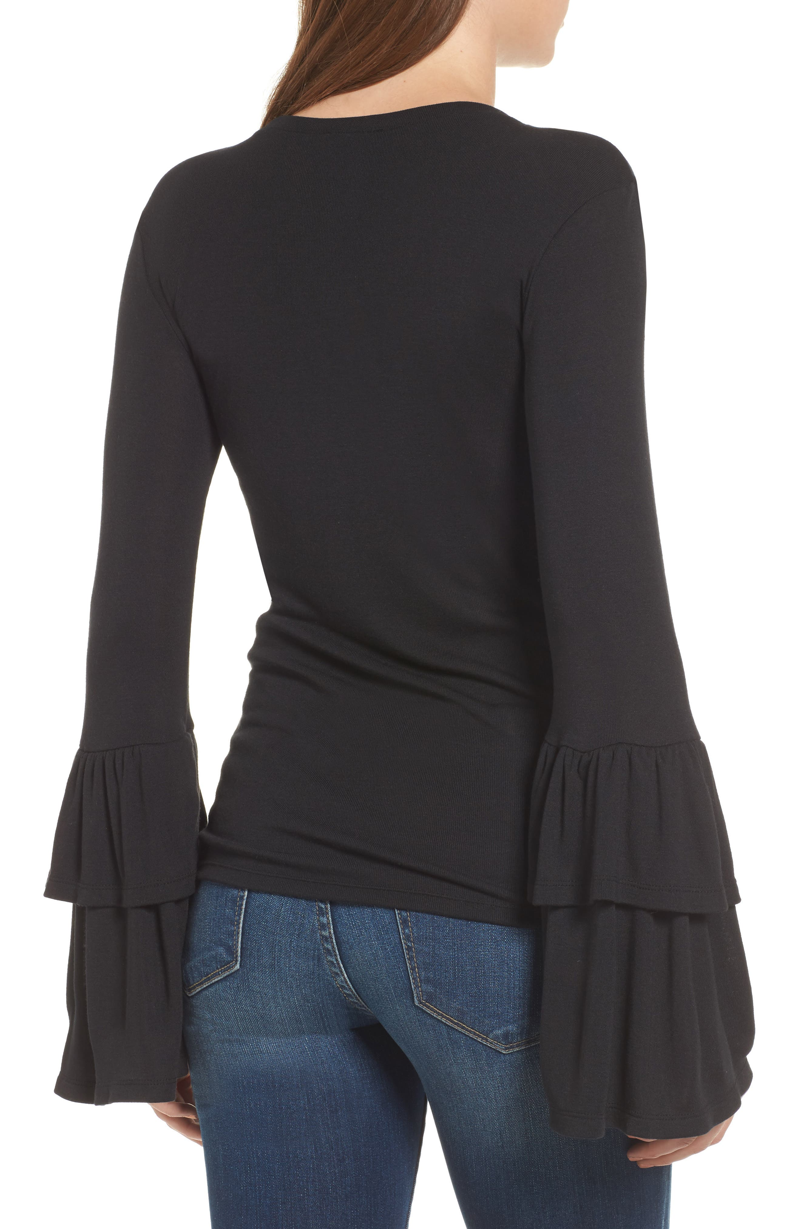 Bell Sleeve Top,                             Alternate thumbnail 2, color,                             001