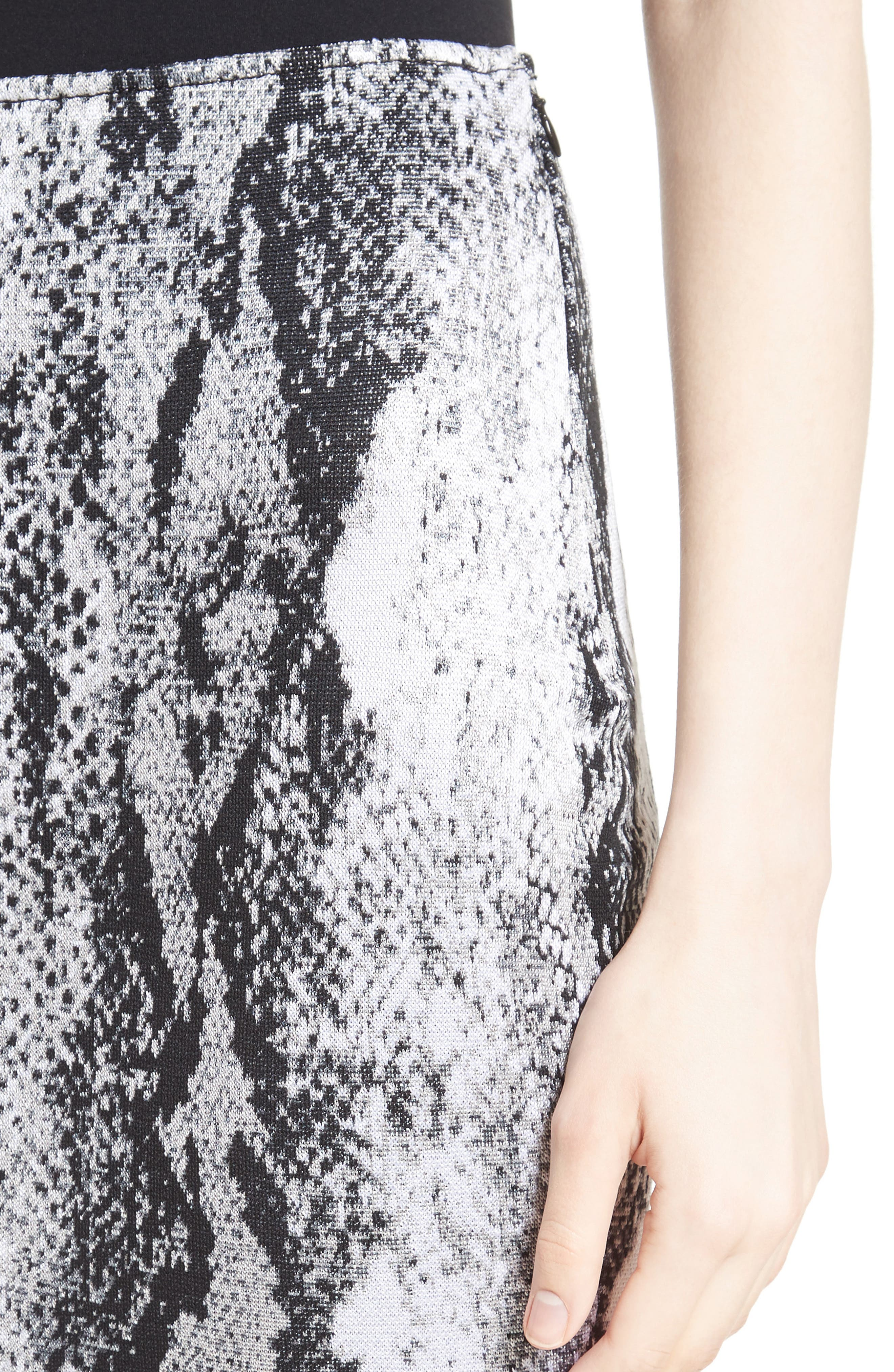Raja Snakeskin Knit Pencil Skirt,                             Alternate thumbnail 4, color,                             050