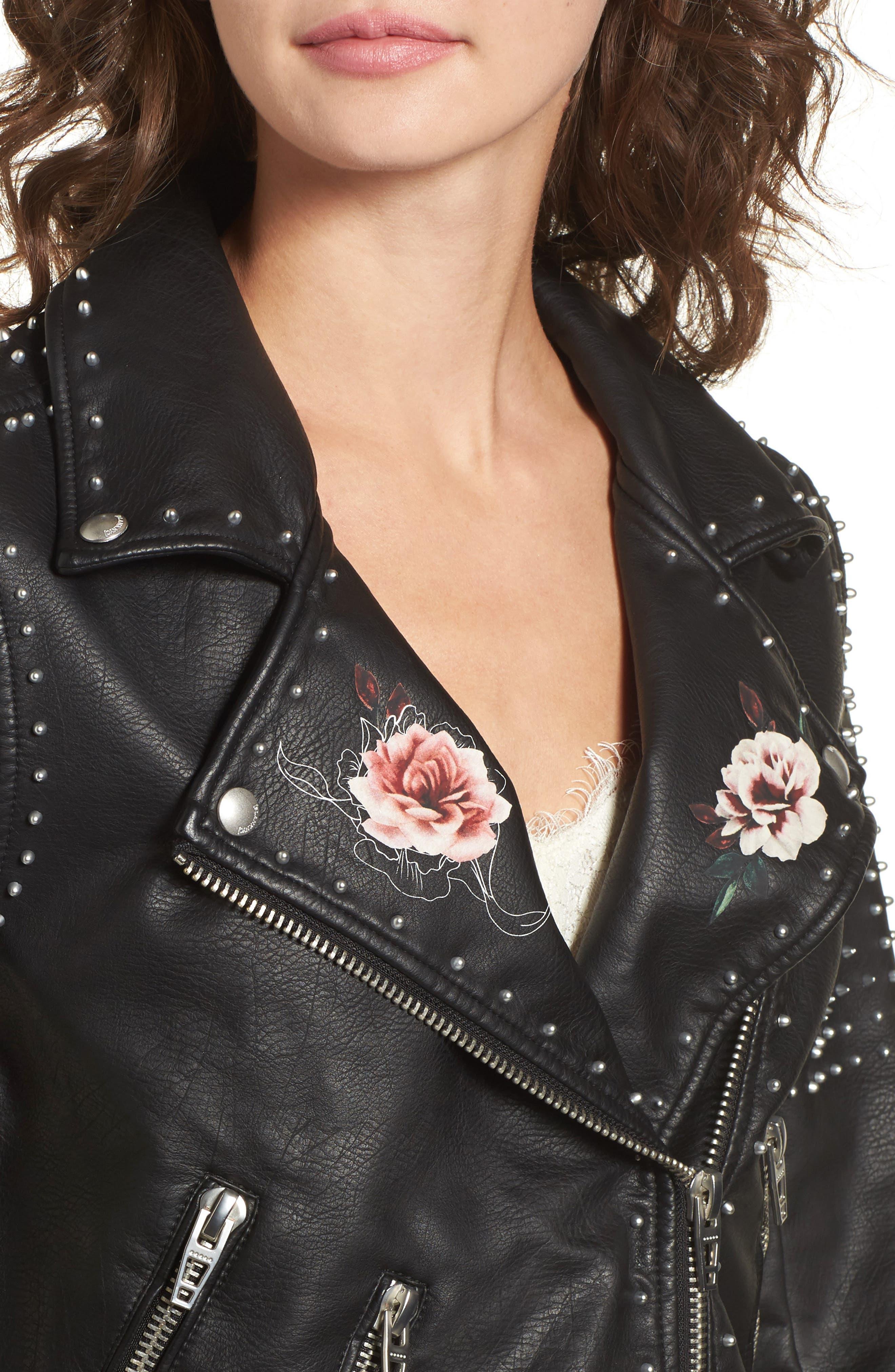 Printed Studded Moto Jacket,                             Alternate thumbnail 4, color,                             002