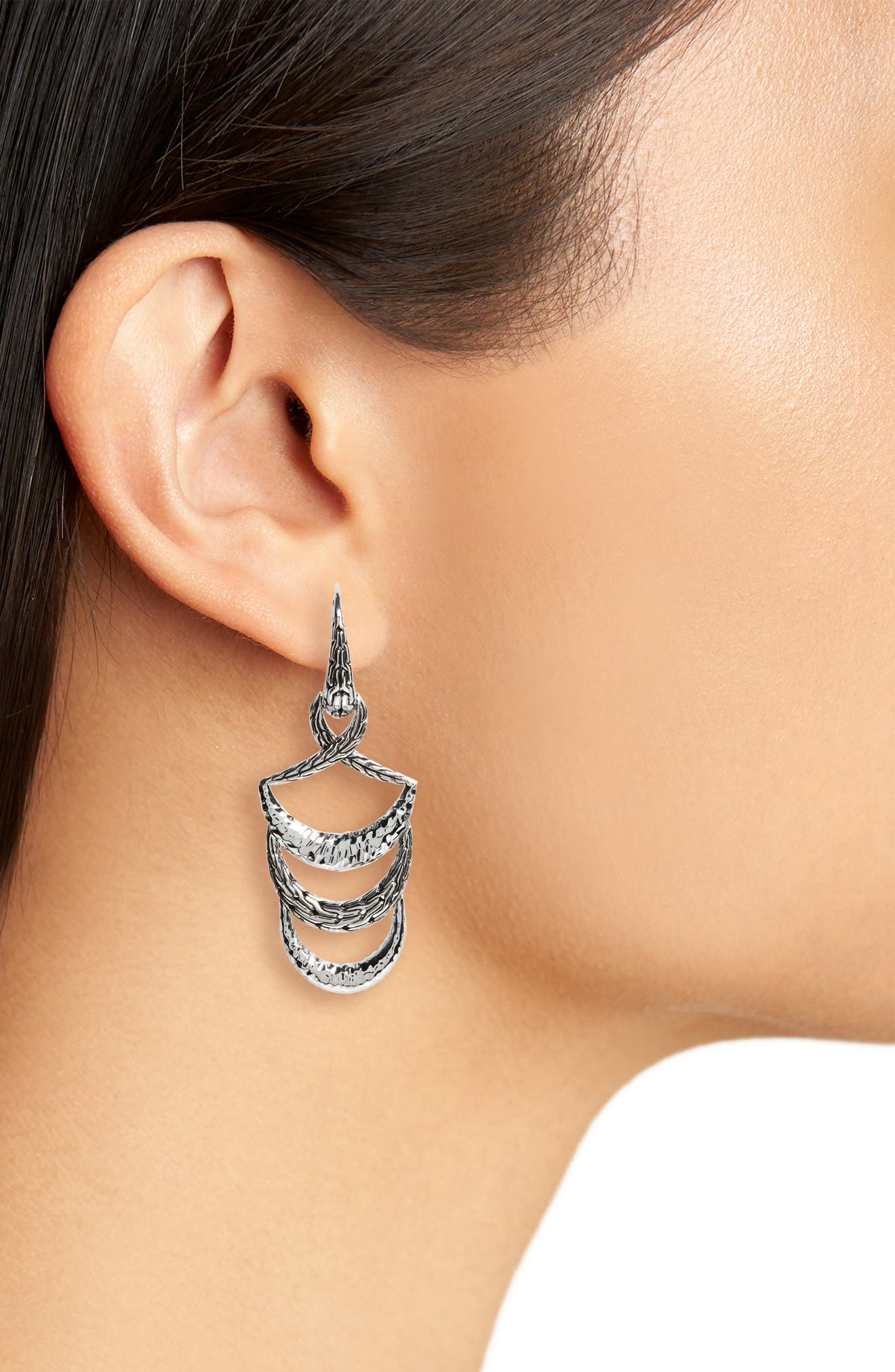 JOHN HARDY,                             Classic Chain Hammered Drop Earrings,                             Alternate thumbnail 2, color,                             SILVER