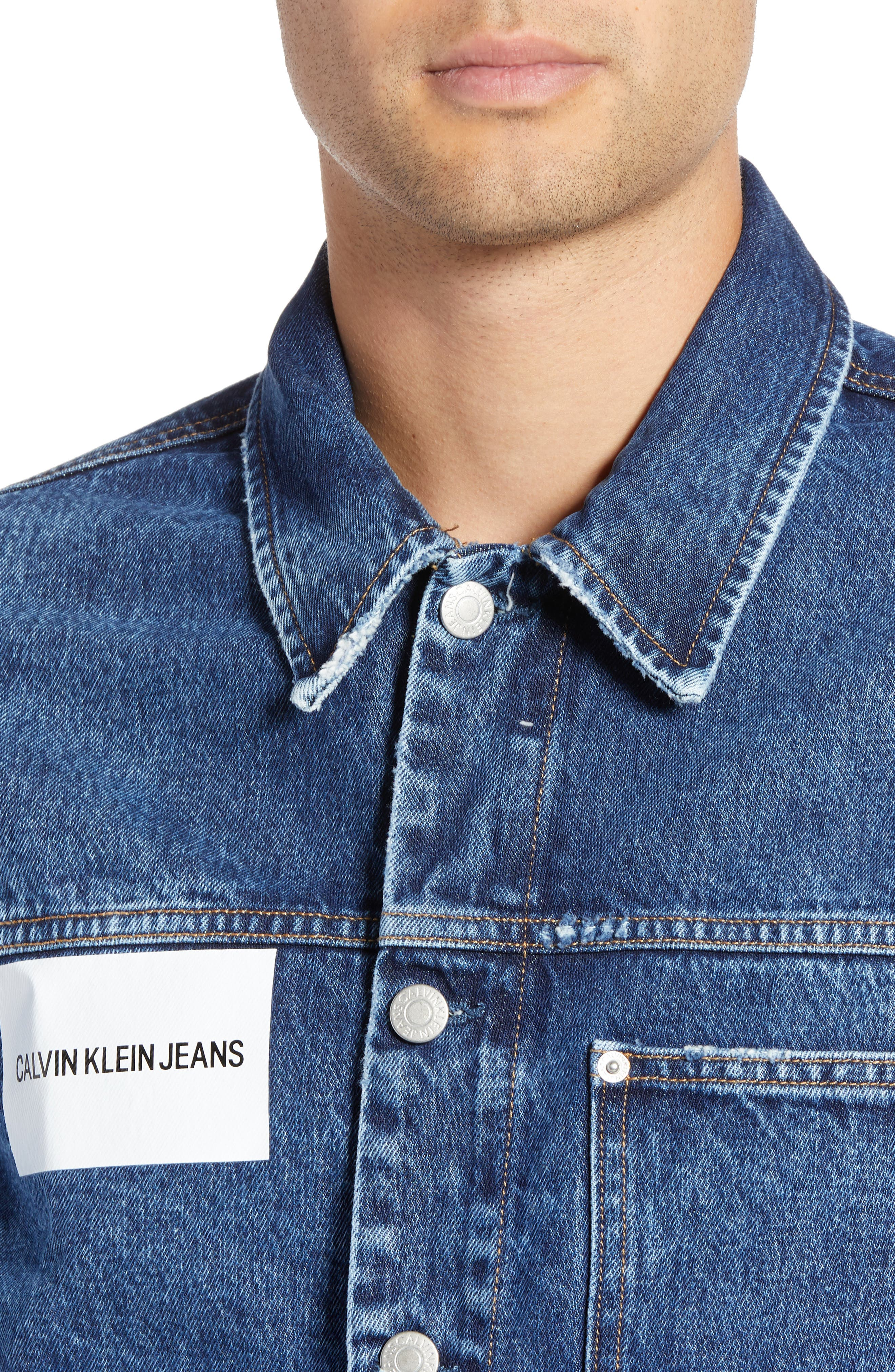 CALVIN KLEIN JEANS,                             Patch One-Pocket Denim Jacket,                             Alternate thumbnail 5, color,                             400