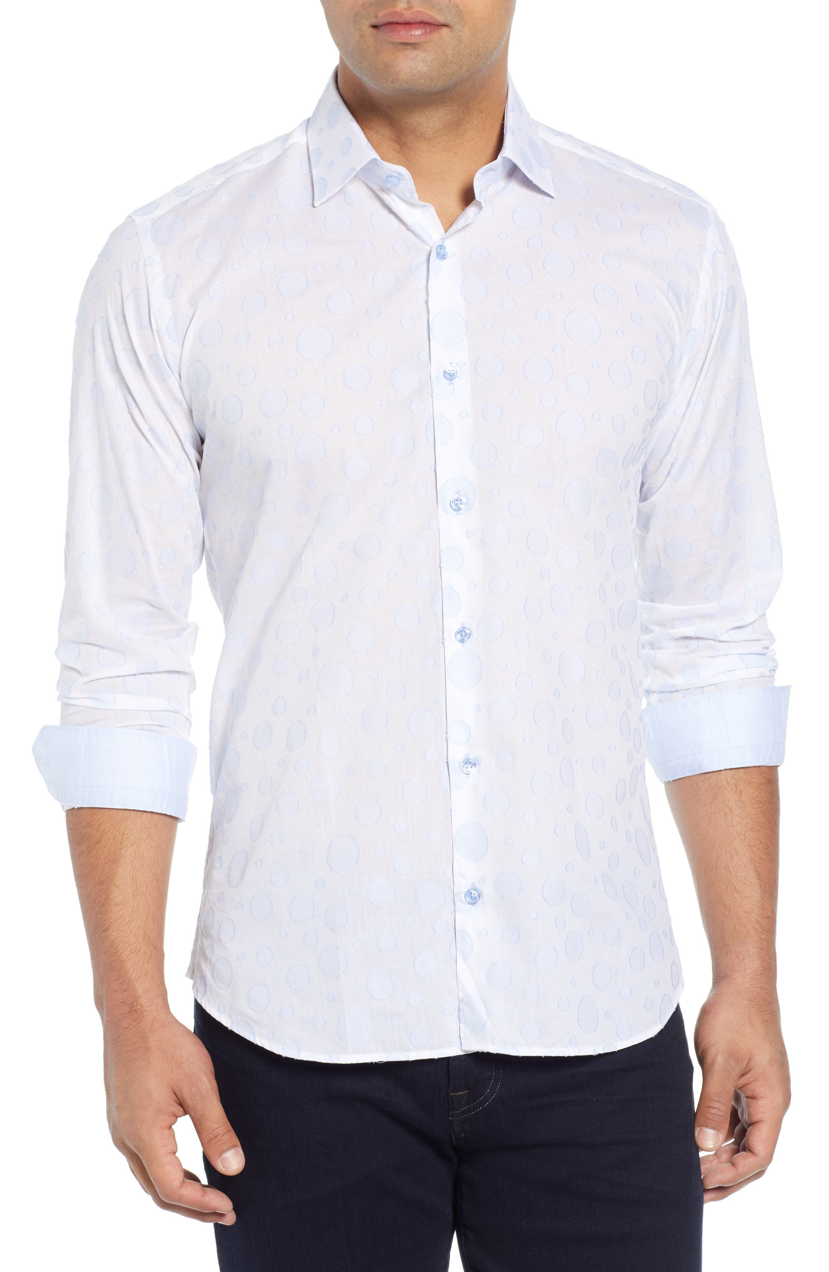 Slim Fit Circle Sport Shirt, Main, color, LIGHT BLUE