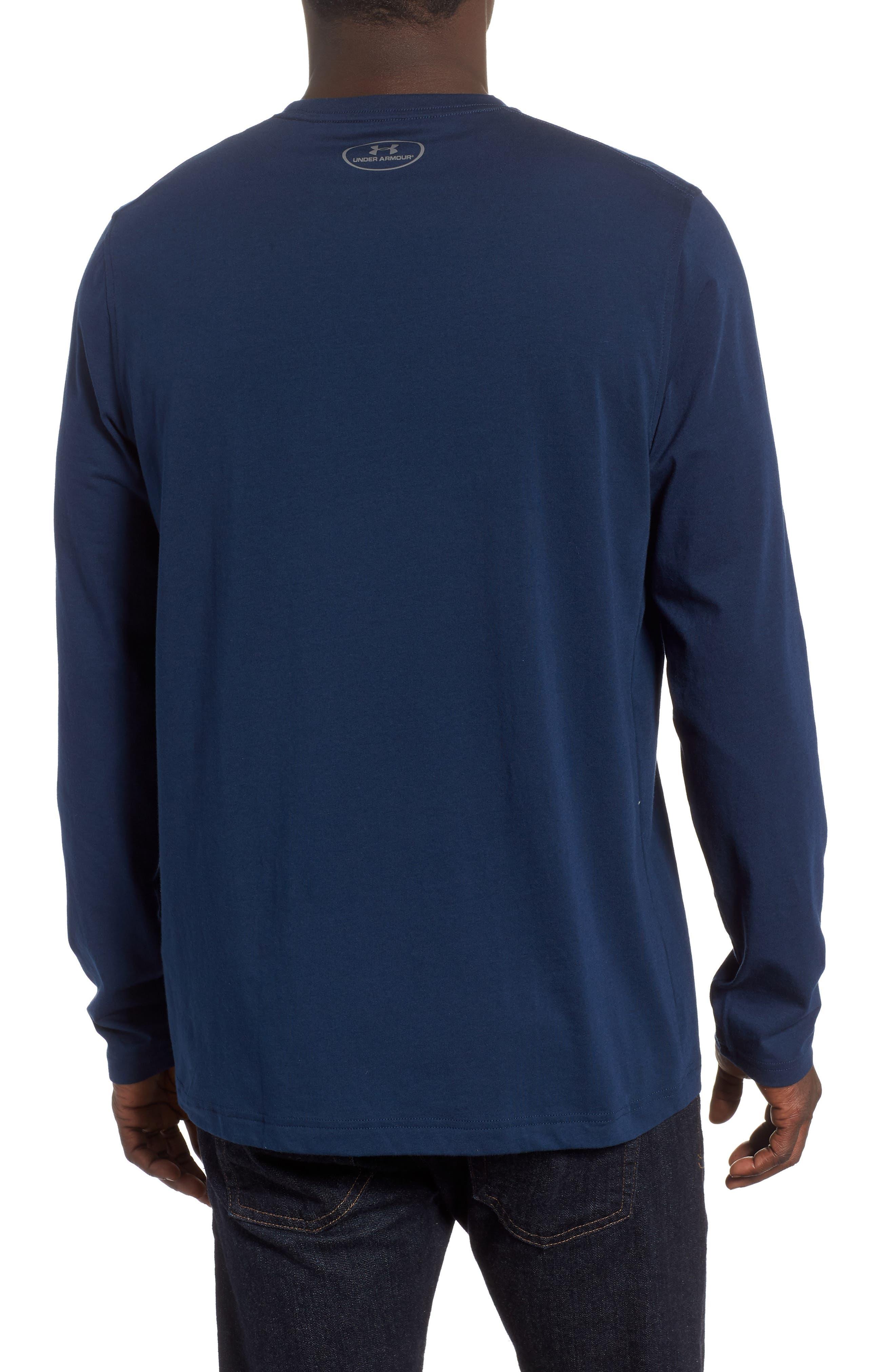 HeatGear<sup>®</sup> Long Sleeve Performance T-Shirt,                             Alternate thumbnail 2, color,                             ACADEMY/ ROYAL