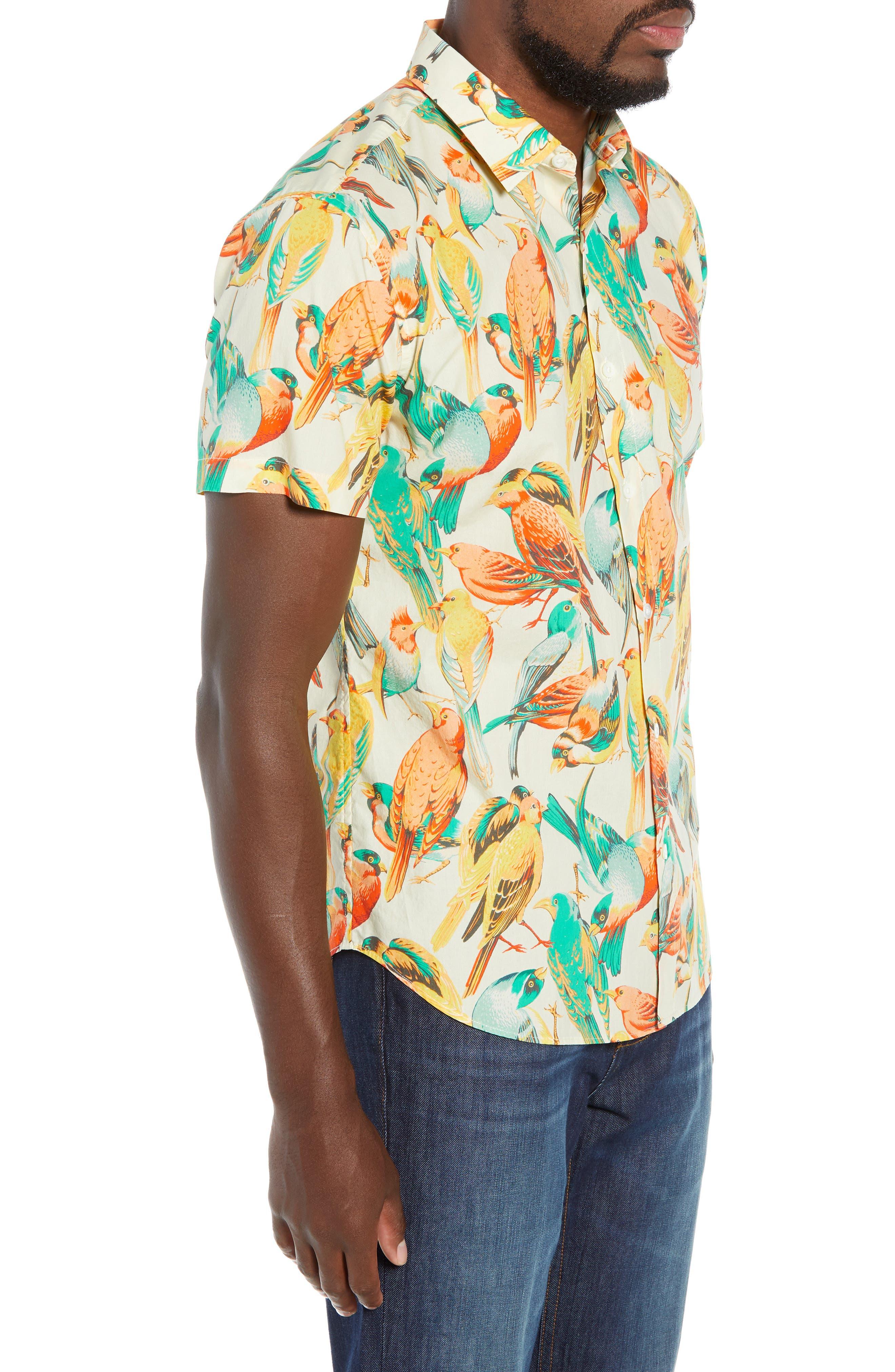 Premium Slim Fit Bird Print Sport Shirt,                             Alternate thumbnail 4, color,                             700