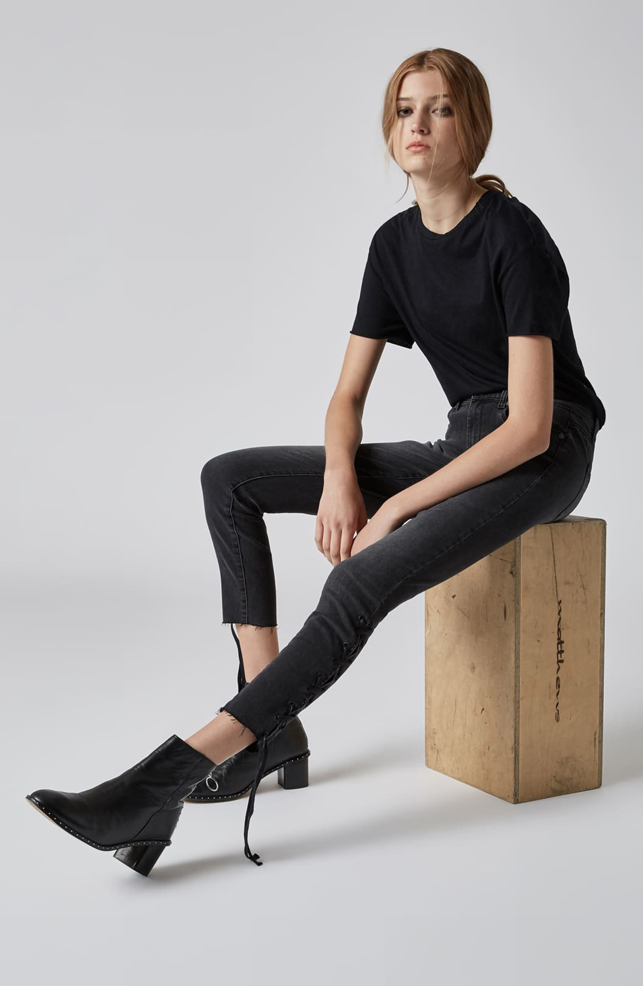 The Reade Lace Up Hem Crop Skinny Jeans,                             Alternate thumbnail 4, color,                             ANTIDOTE