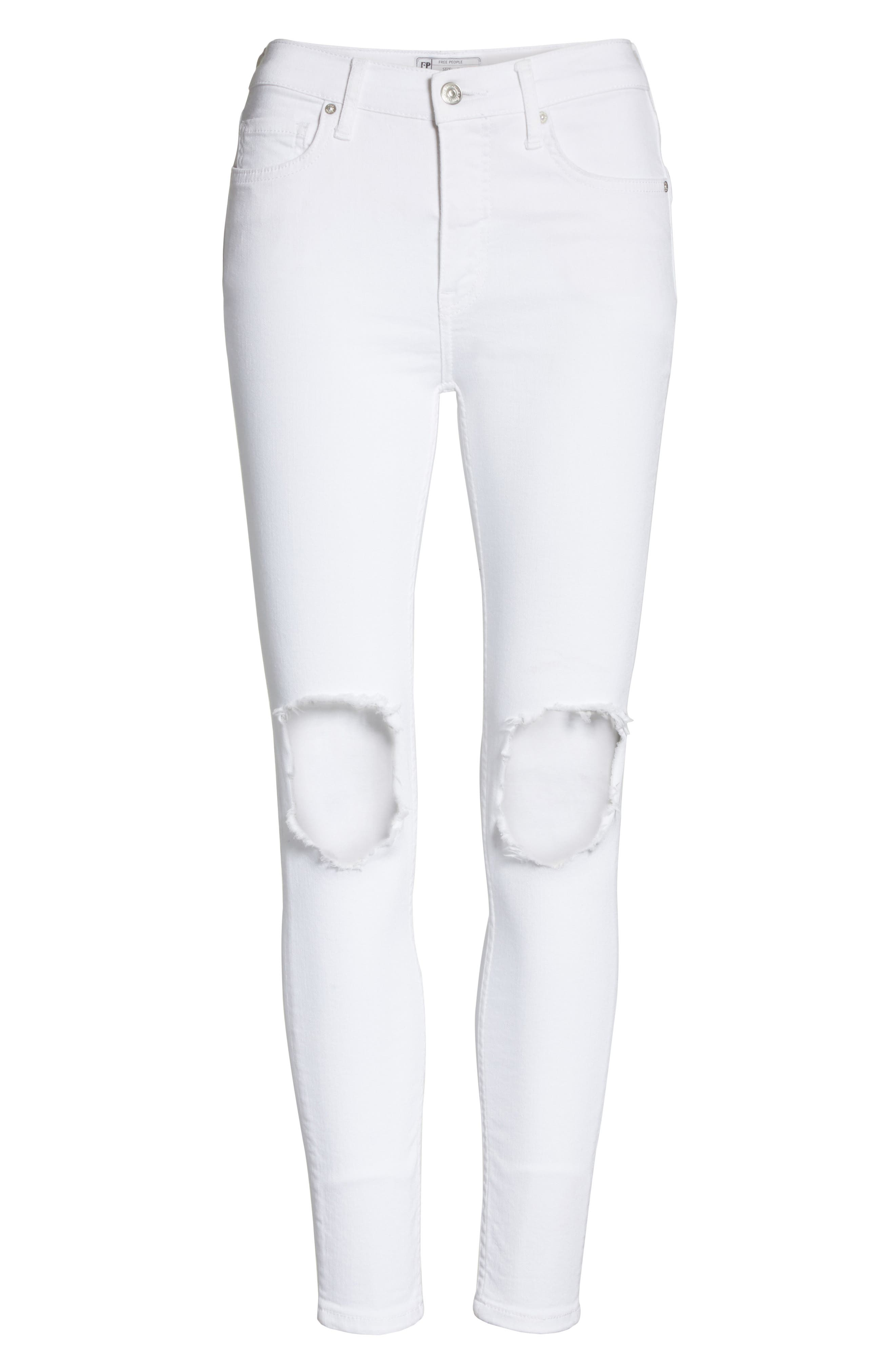 We the Free by Free People High Waist Busted Knee Skinny Jeans,                             Alternate thumbnail 7, color,                             WHITE