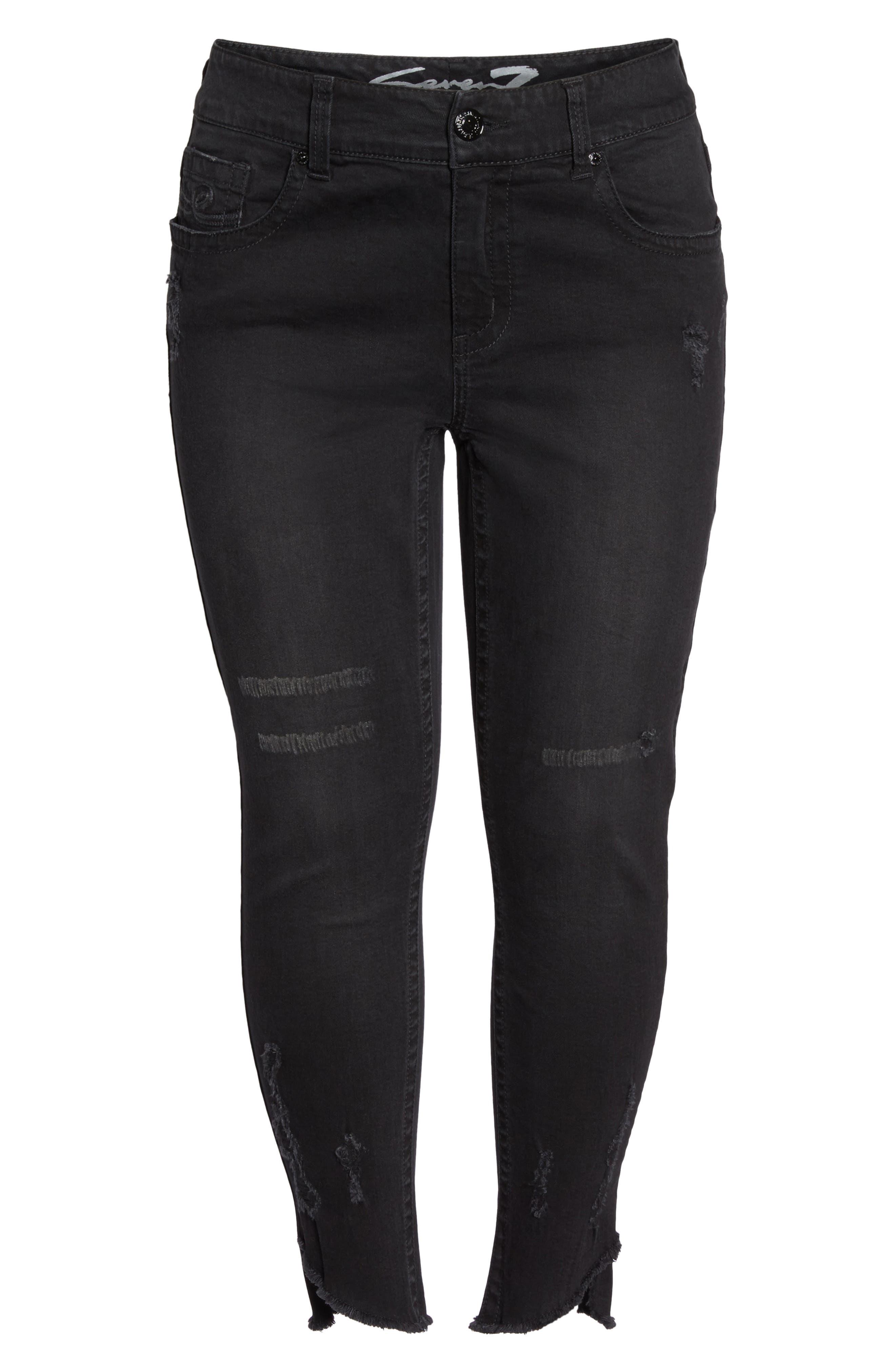 SEVEN7,                             Distressed Slant Raw Hem Skinny Jeans,                             Alternate thumbnail 6, color,                             001
