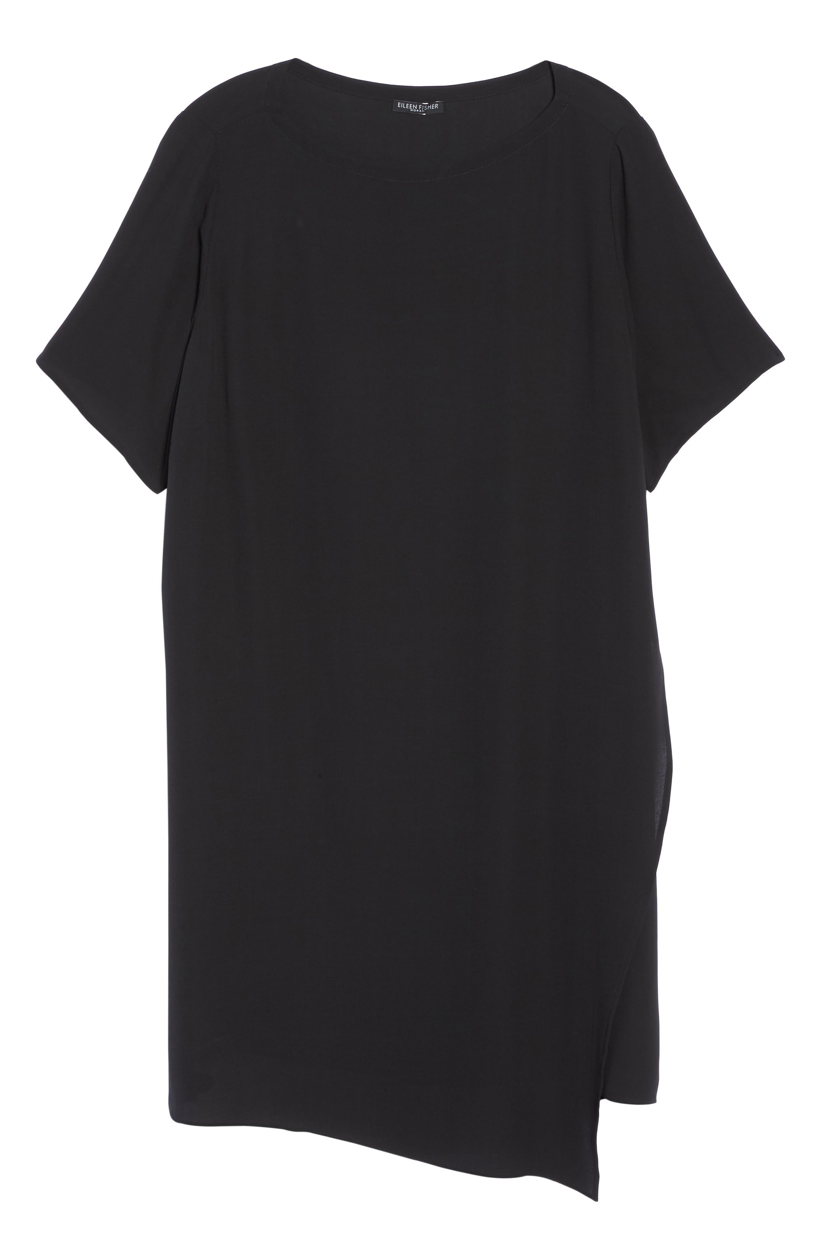 Asymmetrical Silk Shift Dress,                             Alternate thumbnail 6, color,                             001