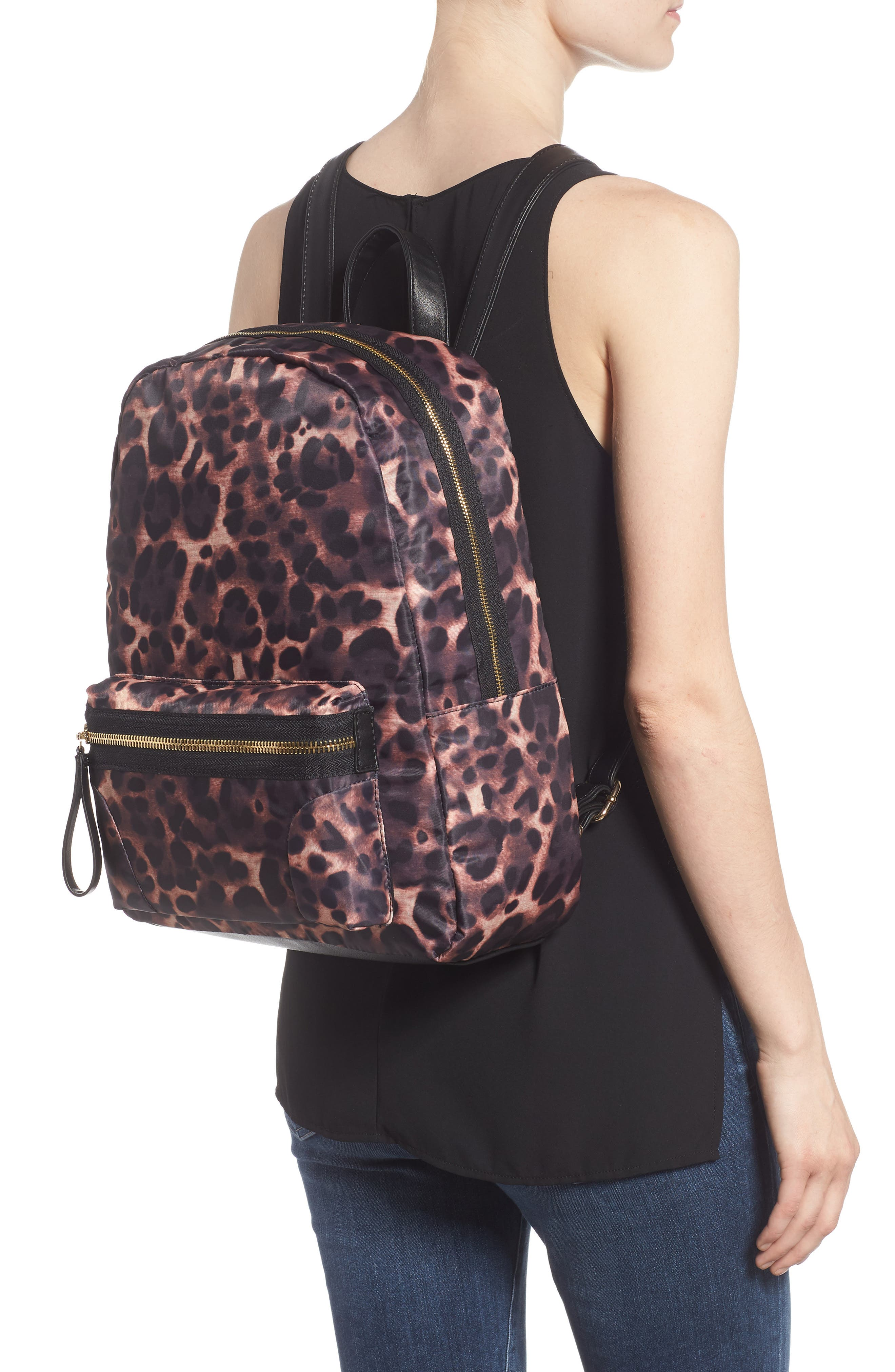 Leopard Print Nylon Backpack,                             Alternate thumbnail 2, color,                             200