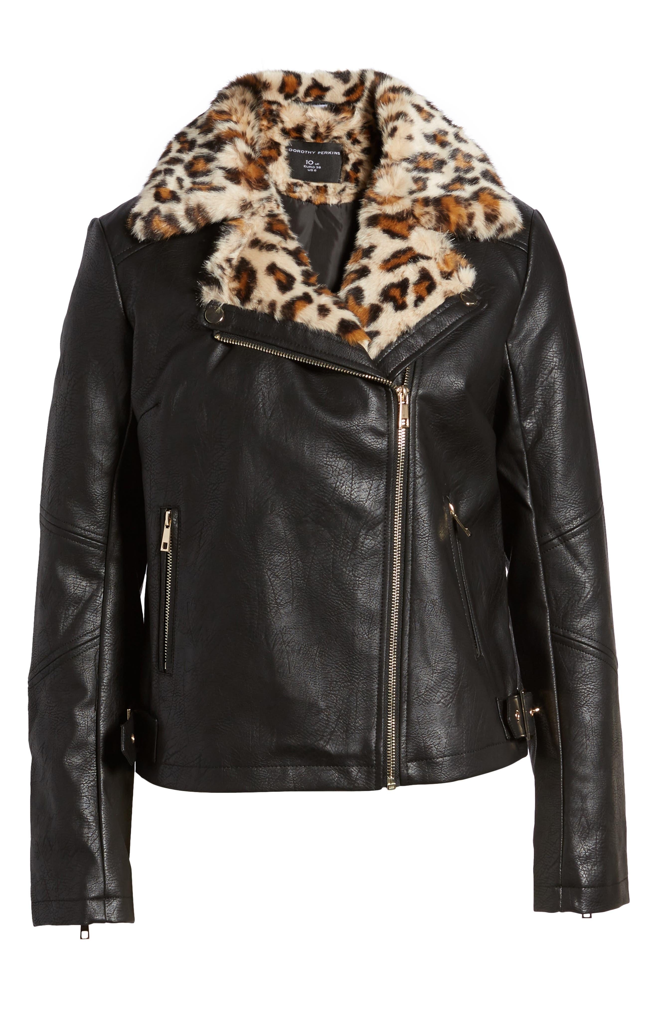 Faux Leather Biker Jacket with Faux Fur Trim,                             Alternate thumbnail 5, color,                             001