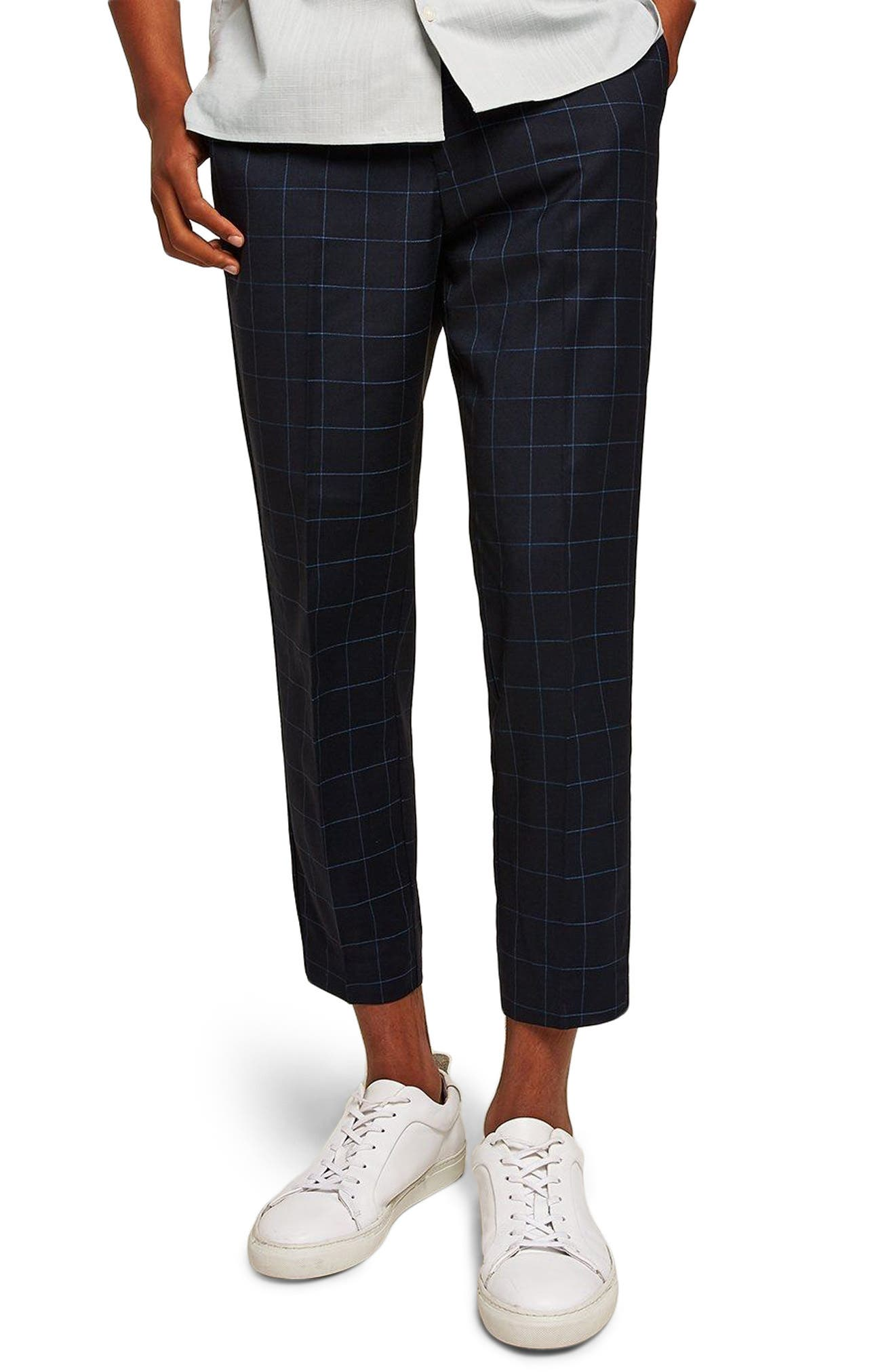 Slim Fit Grid Check Crop Pants,                         Main,                         color, NAVY BLUE