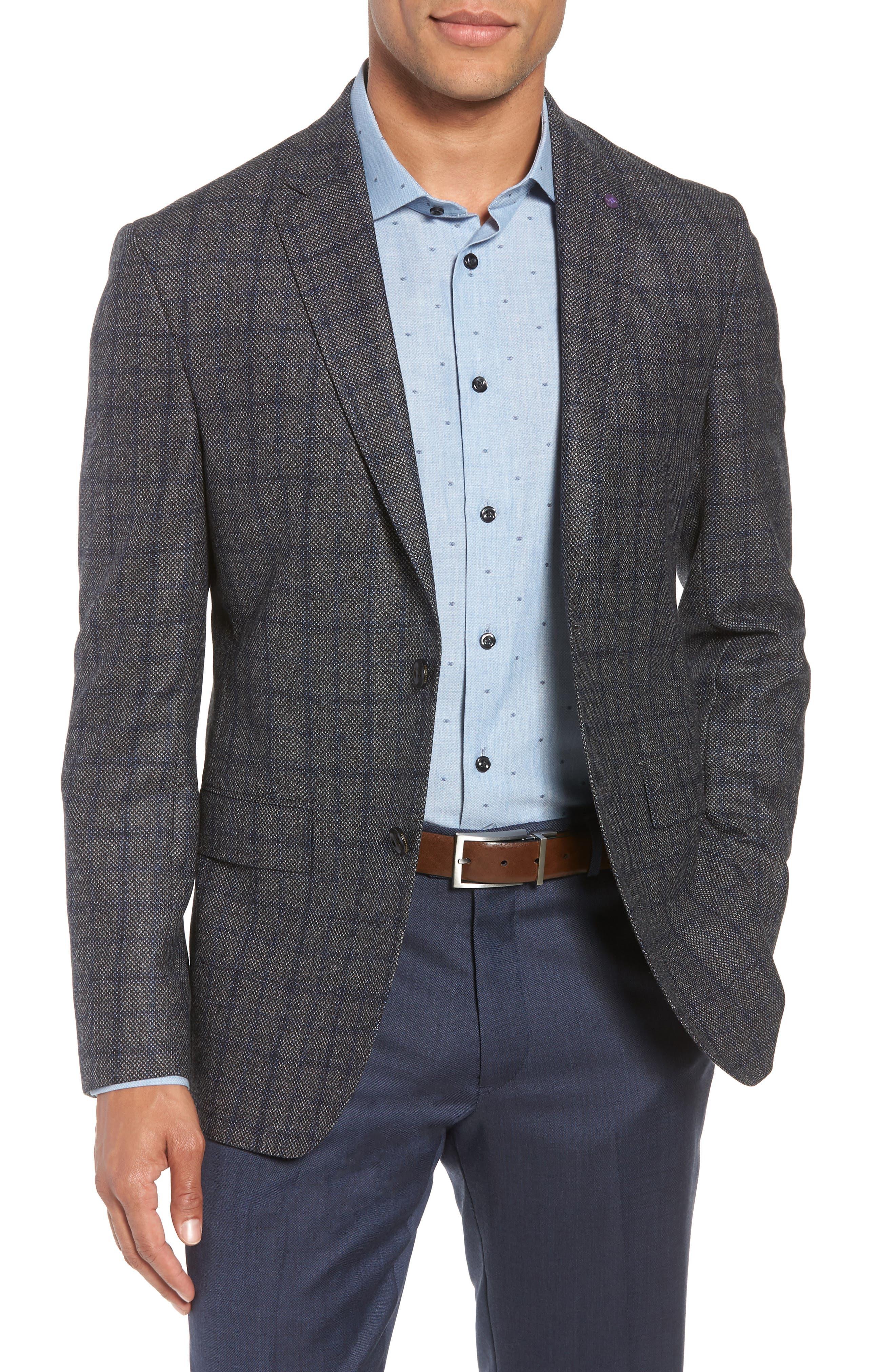Konan Trim Fit Windowpane Wool Sport Coat,                         Main,                         color, GREY