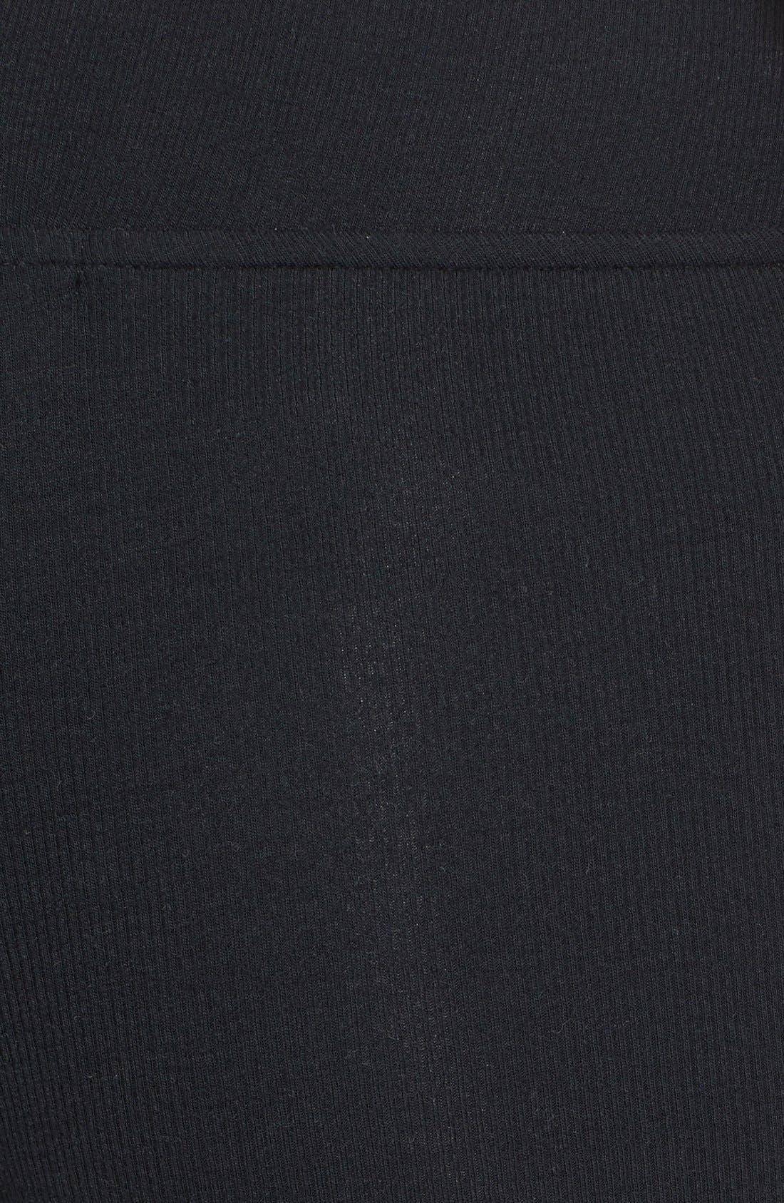 Rib Knit Yoga Leggings,                             Alternate thumbnail 6, color,                             BLACK