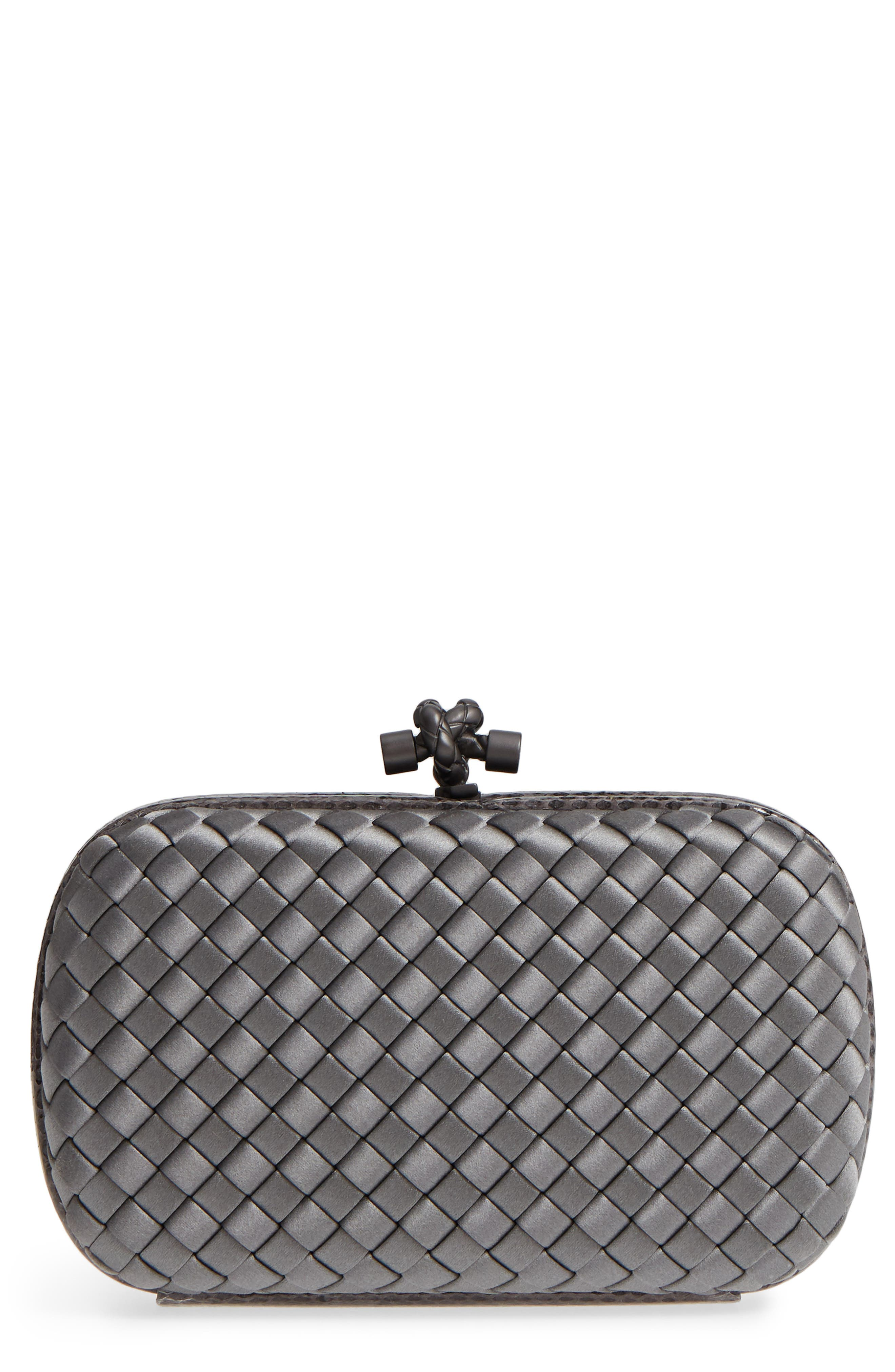 New Satin & Genuine Snakeskin Knot Clutch, Main, color, 8522- NEW LIGHT GREY