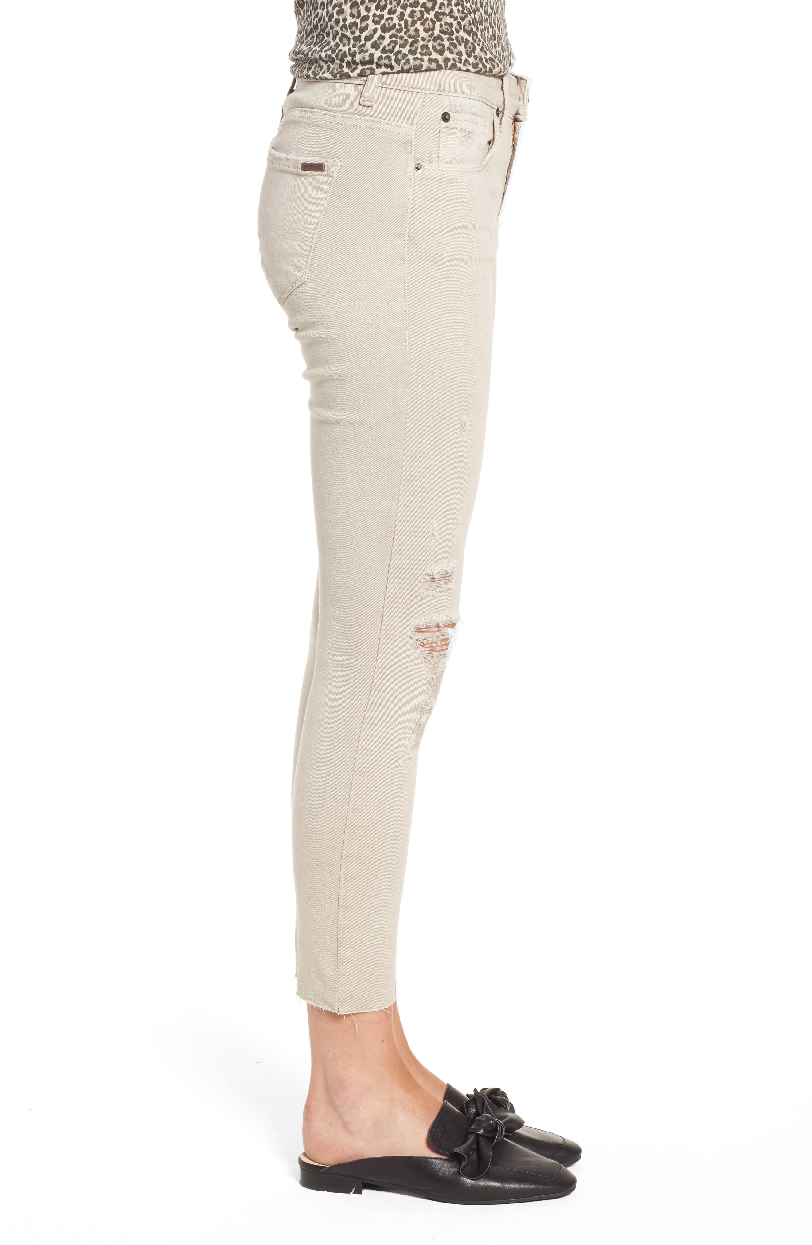 Emma Distressed Raw Hem Skinny Jeans,                             Alternate thumbnail 3, color,
