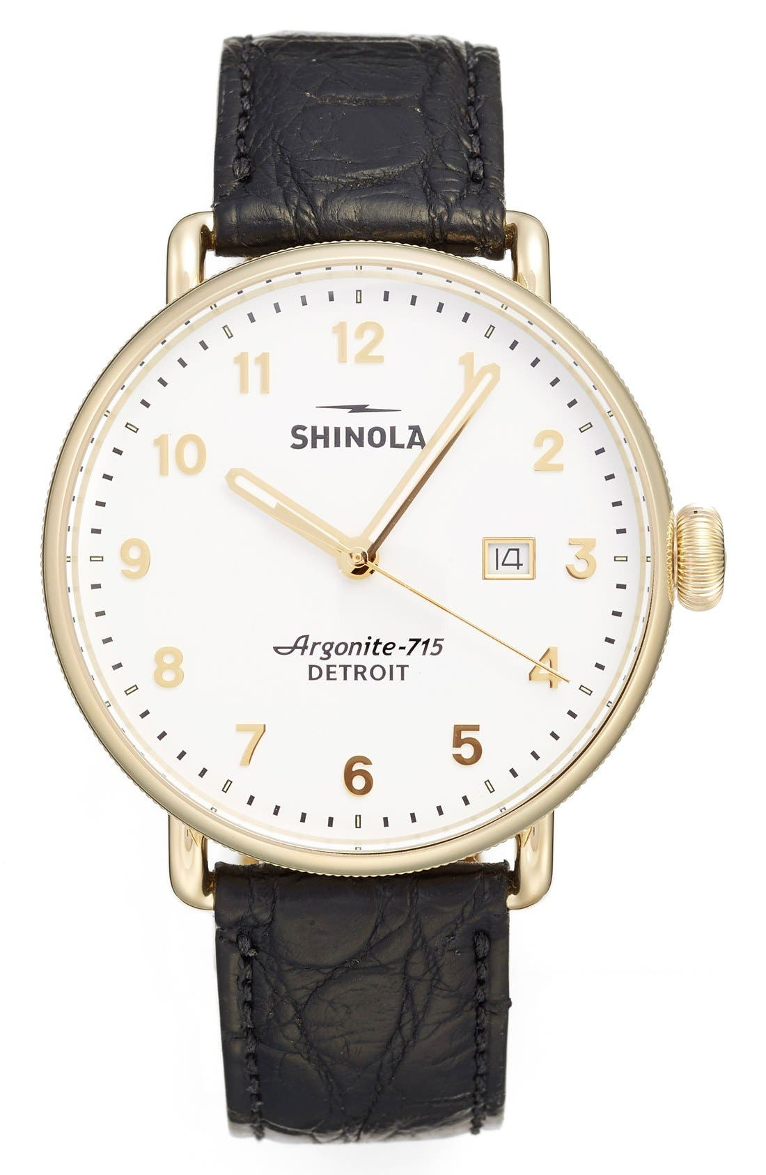 The Canfield Alligator Strap Watch, 43mm,                             Main thumbnail 1, color,                             BLACK/ WHITE
