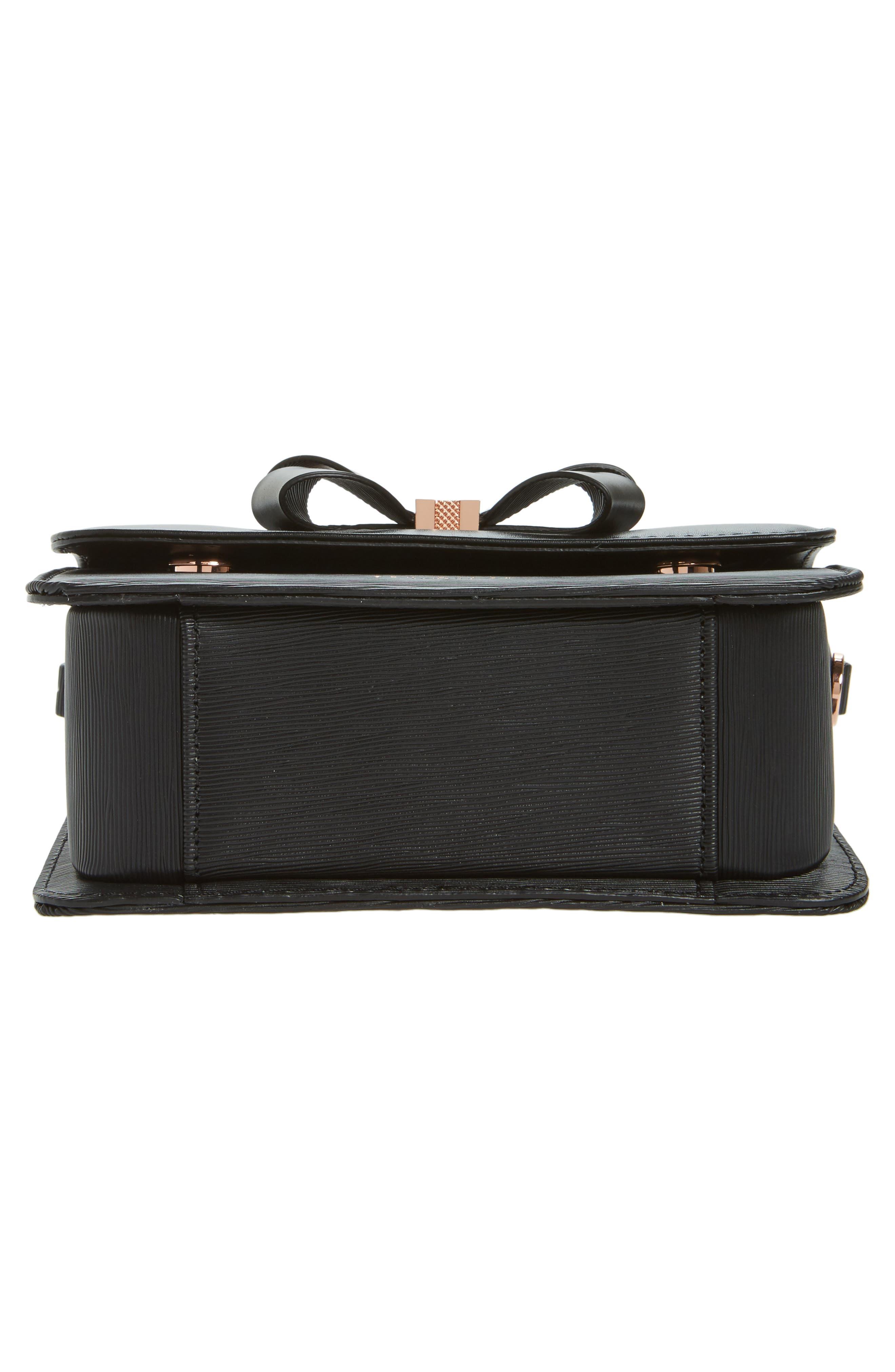 Callih Bow Leather Crossbody Bag,                             Alternate thumbnail 6, color,                             001