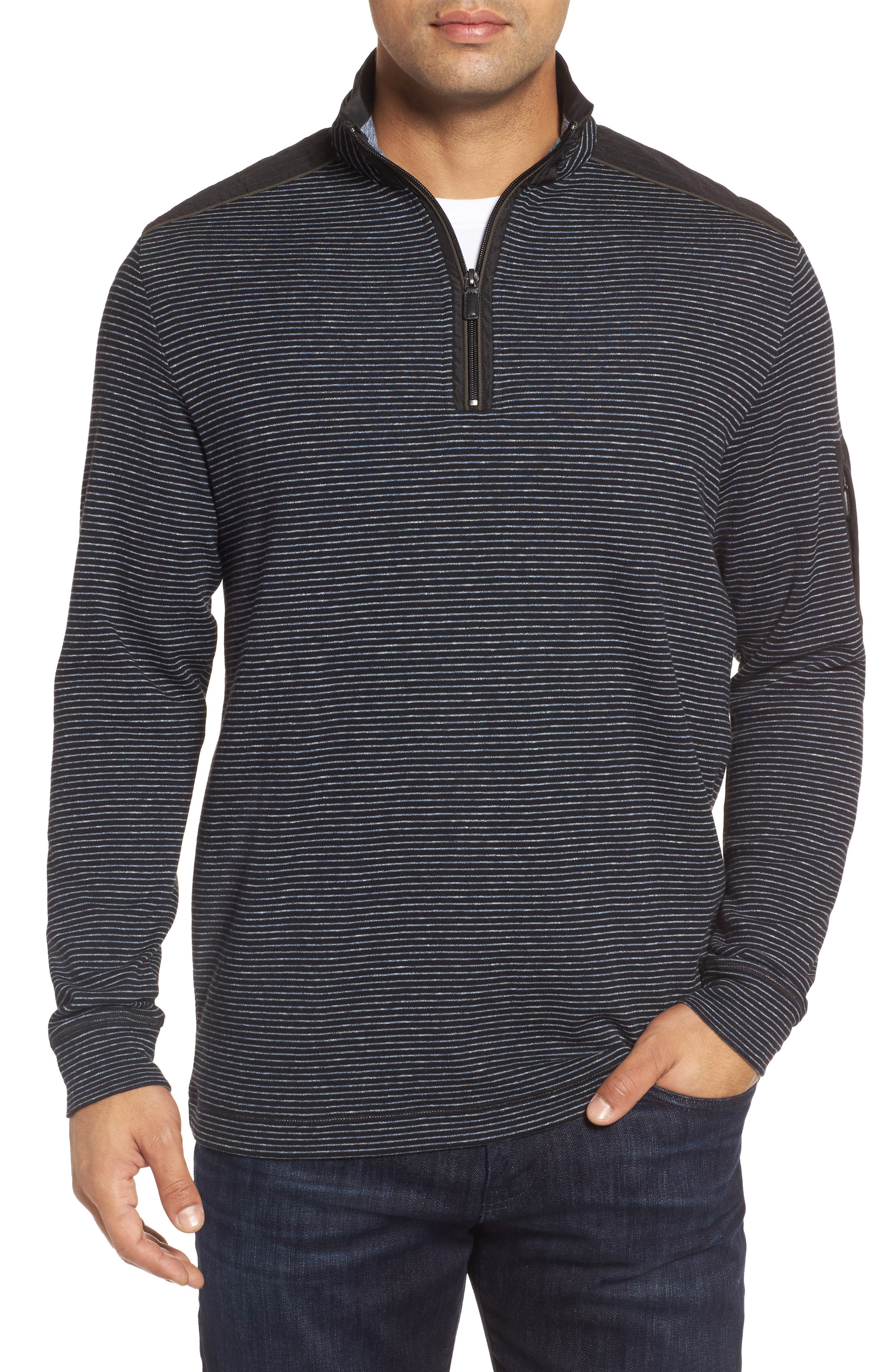 Classic Fit Pinstripe Quarter Zip Pullover,                             Main thumbnail 1, color,                             001