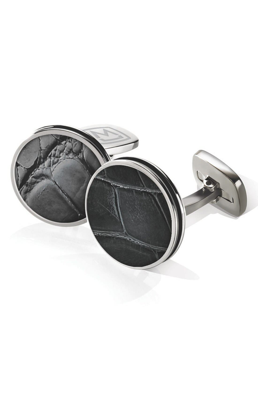 Alligator Cuff Links,                             Main thumbnail 1, color,                             STAINLESS STEEL/ BLACK