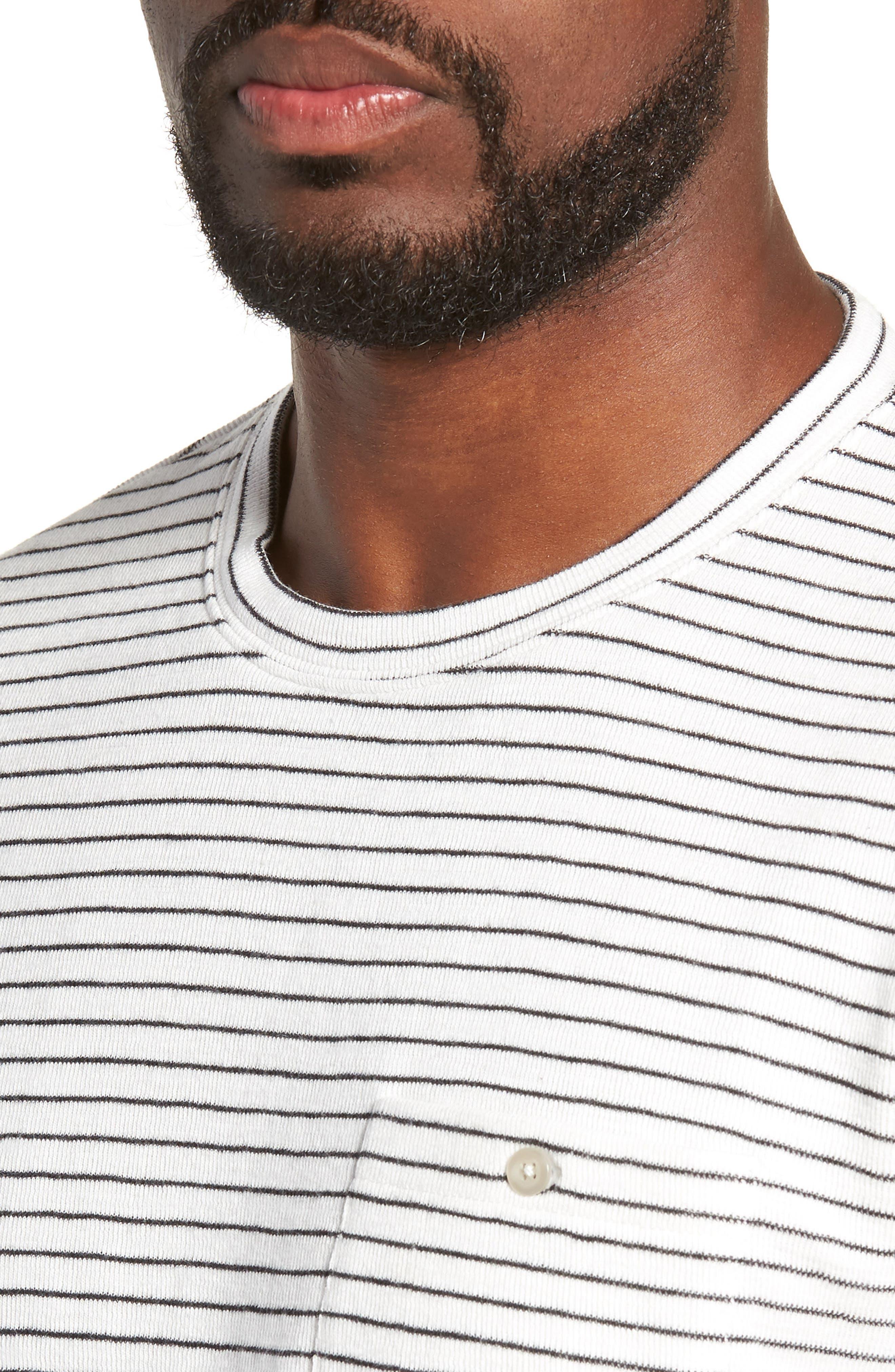 Stripe Long Sleeve Pocket T-Shirt,                             Alternate thumbnail 4, color,                             NATURAL