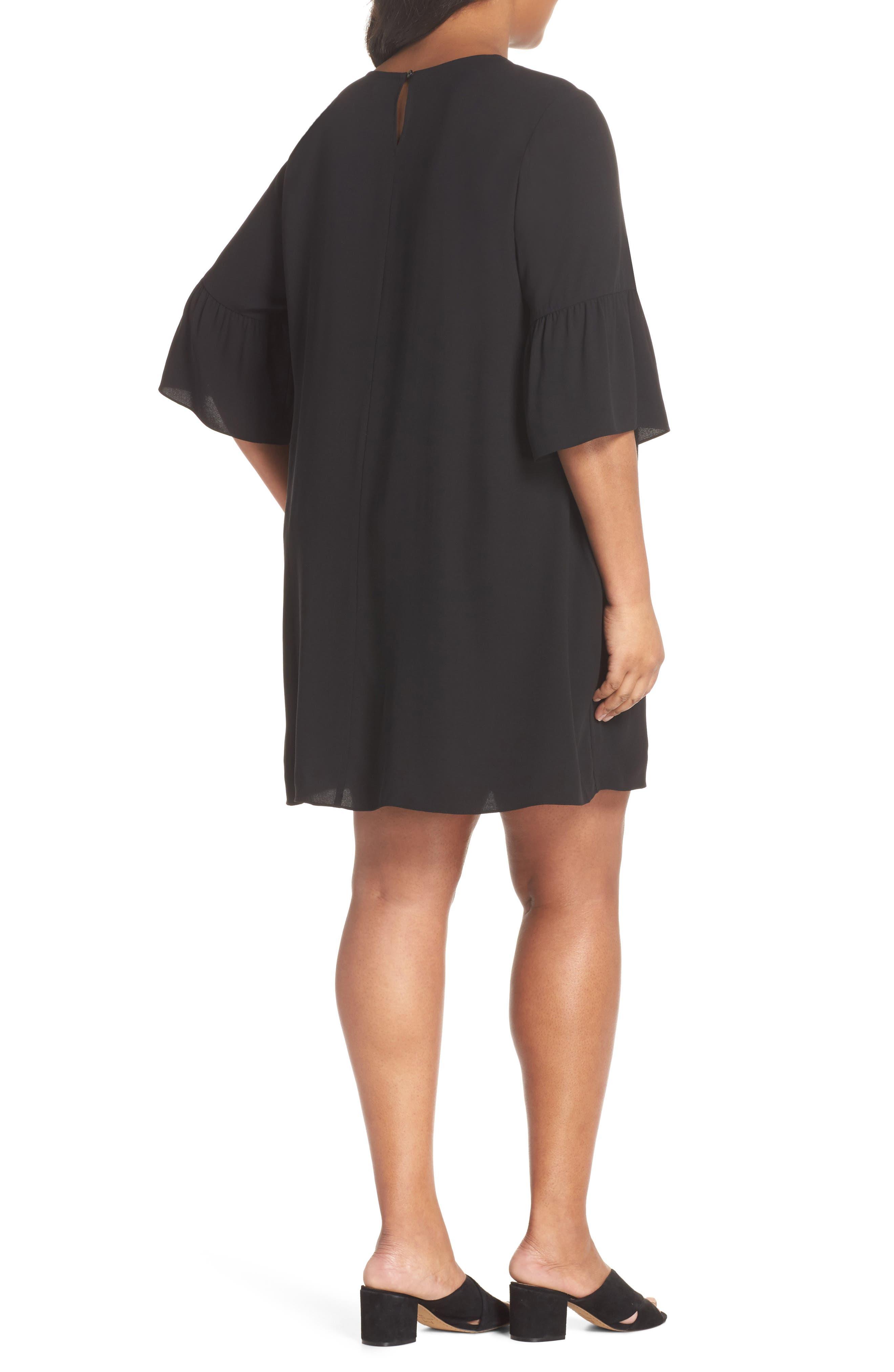 Flare Sleeve Silk Shift Dress,                             Alternate thumbnail 2, color,                             001