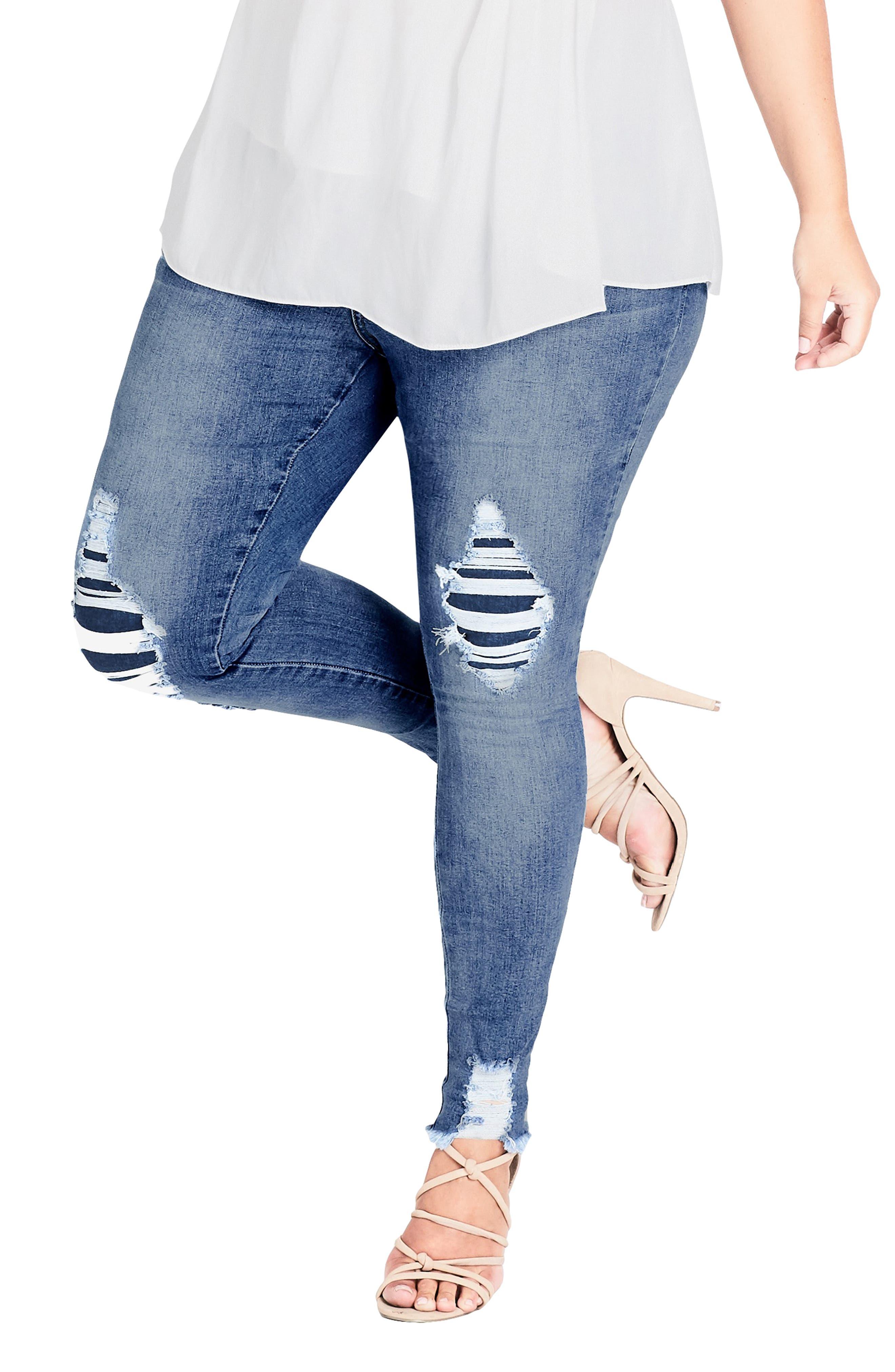 Asha Rip Detail Jeans, Main, color, MID DENIM