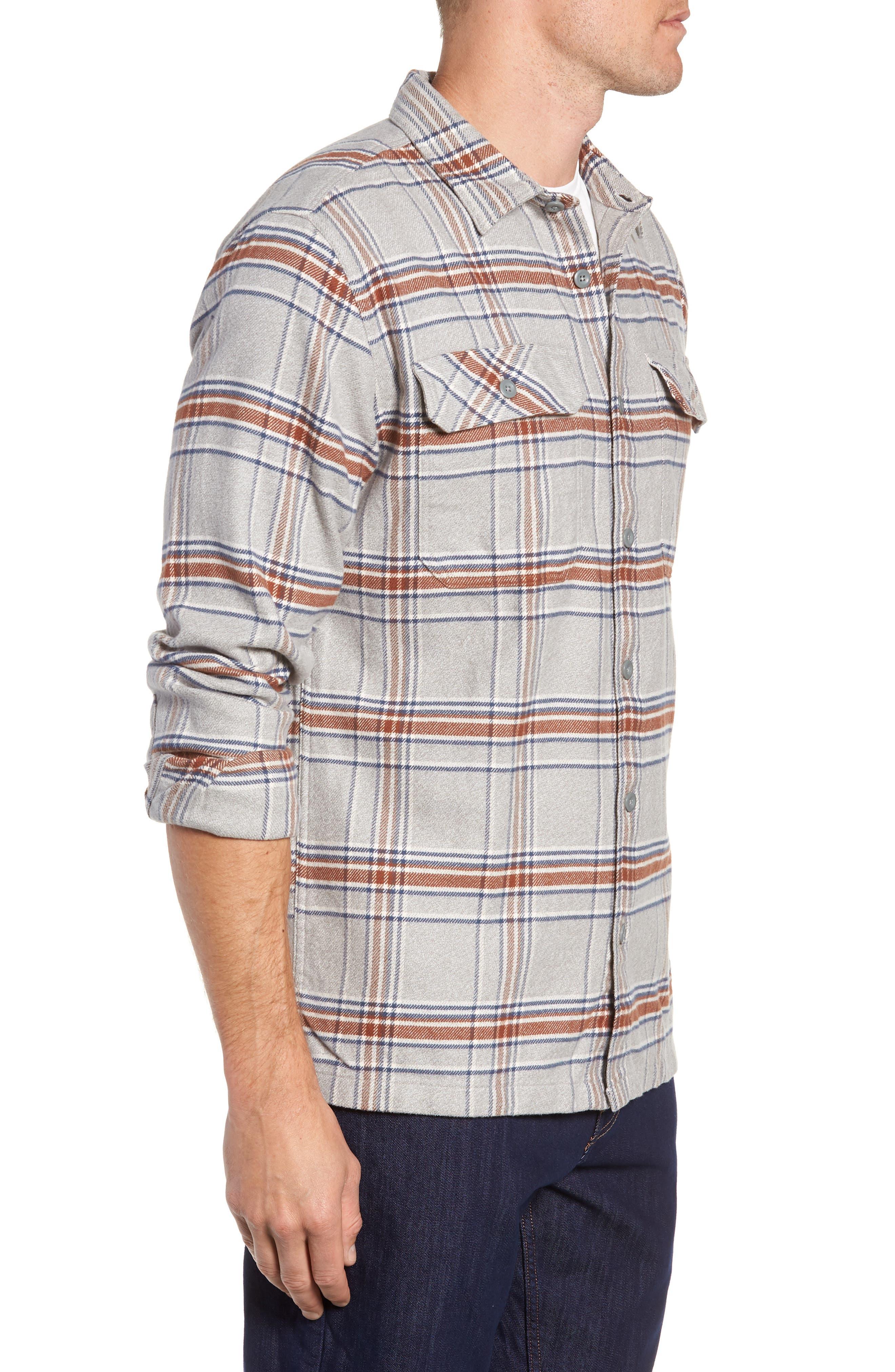 'Fjord' Regular Fit Organic Cotton Flannel Shirt,                             Alternate thumbnail 4, color,                             ACTIVIST FEATHER GREY