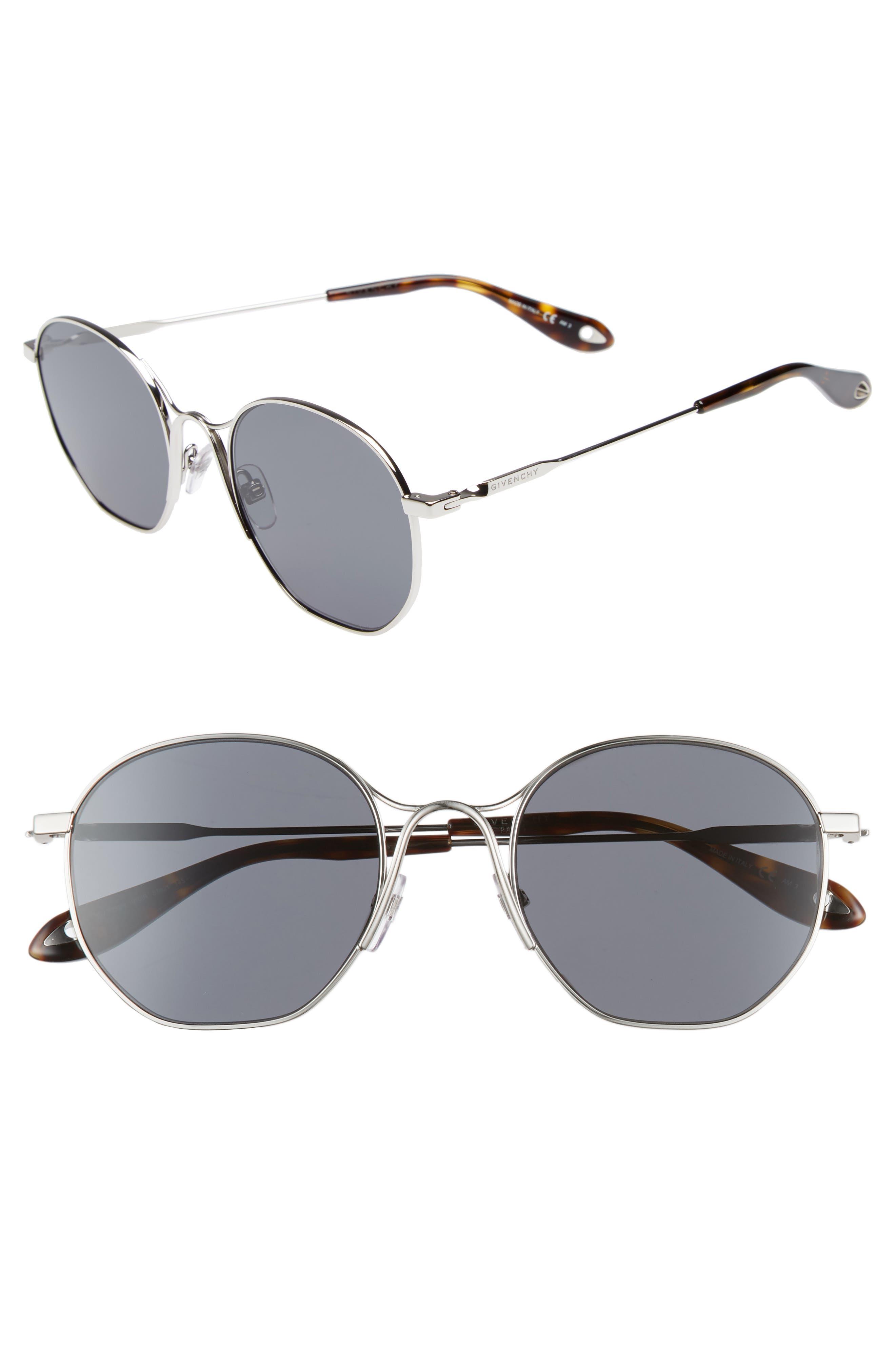 53mm Squared Round Metal Sunglasses,                             Main thumbnail 1, color,                             PALLADIUM