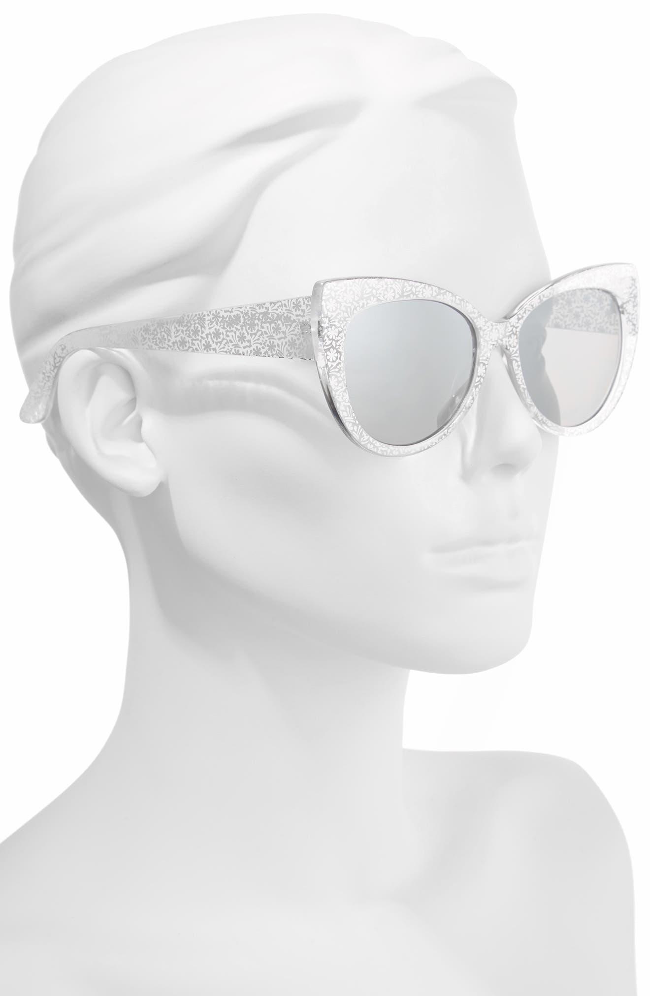55mm Floral Cat Eye Sunglasses,                             Alternate thumbnail 3, color,