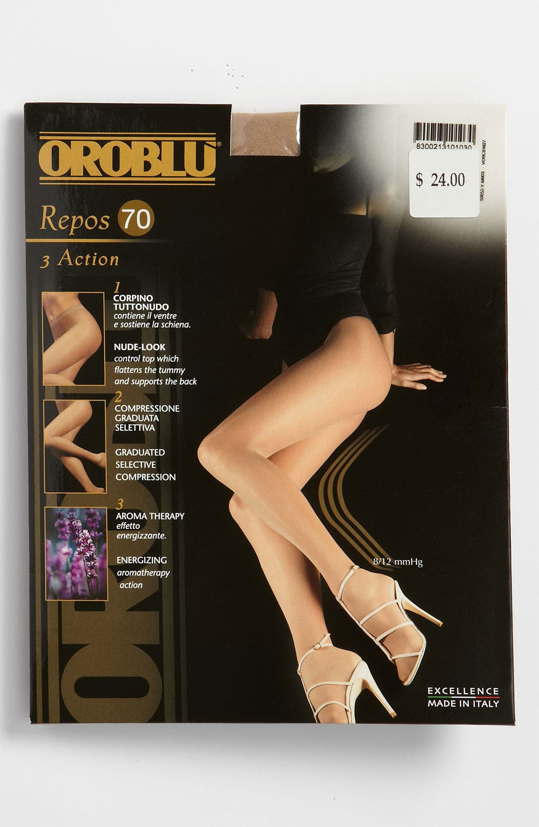 Repos 70 Control Top Pantyhose,                             Alternate thumbnail 2, color,                             BLACK