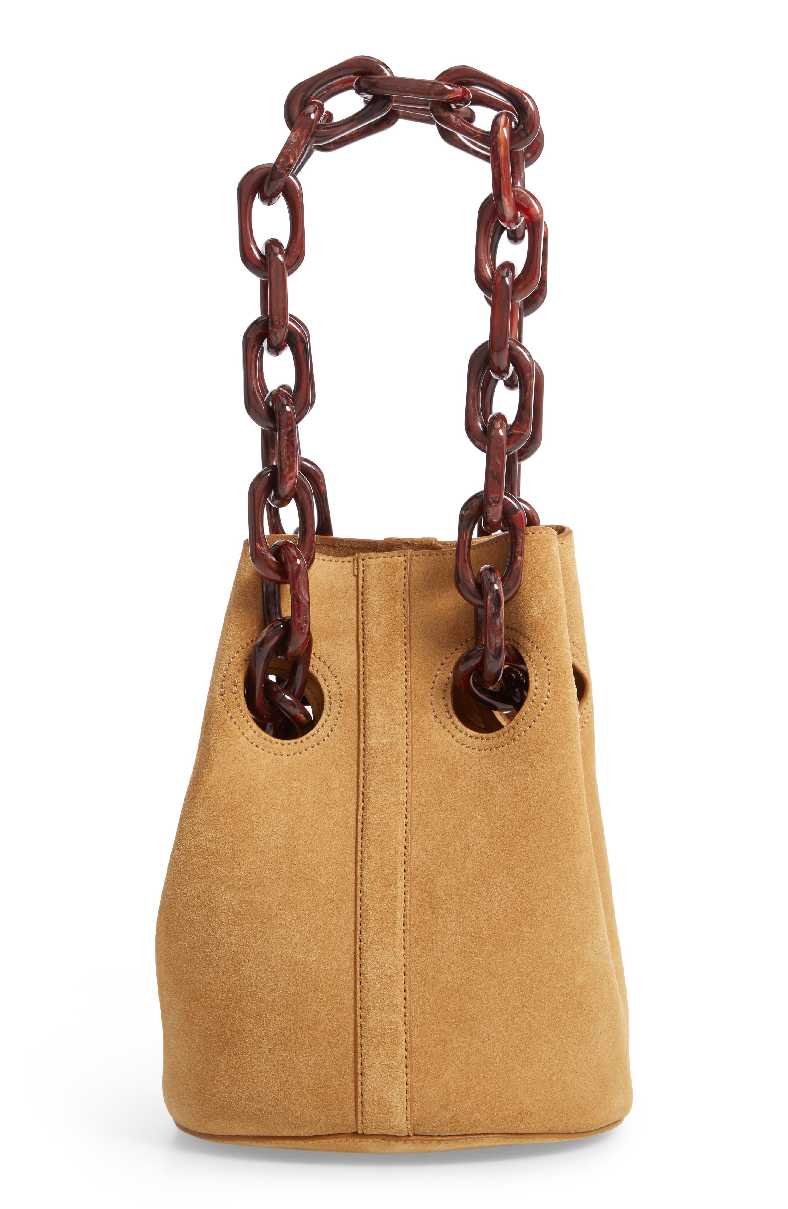 Goodall Leather Bucket Bag,                             Alternate thumbnail 3, color,                             BEIGE