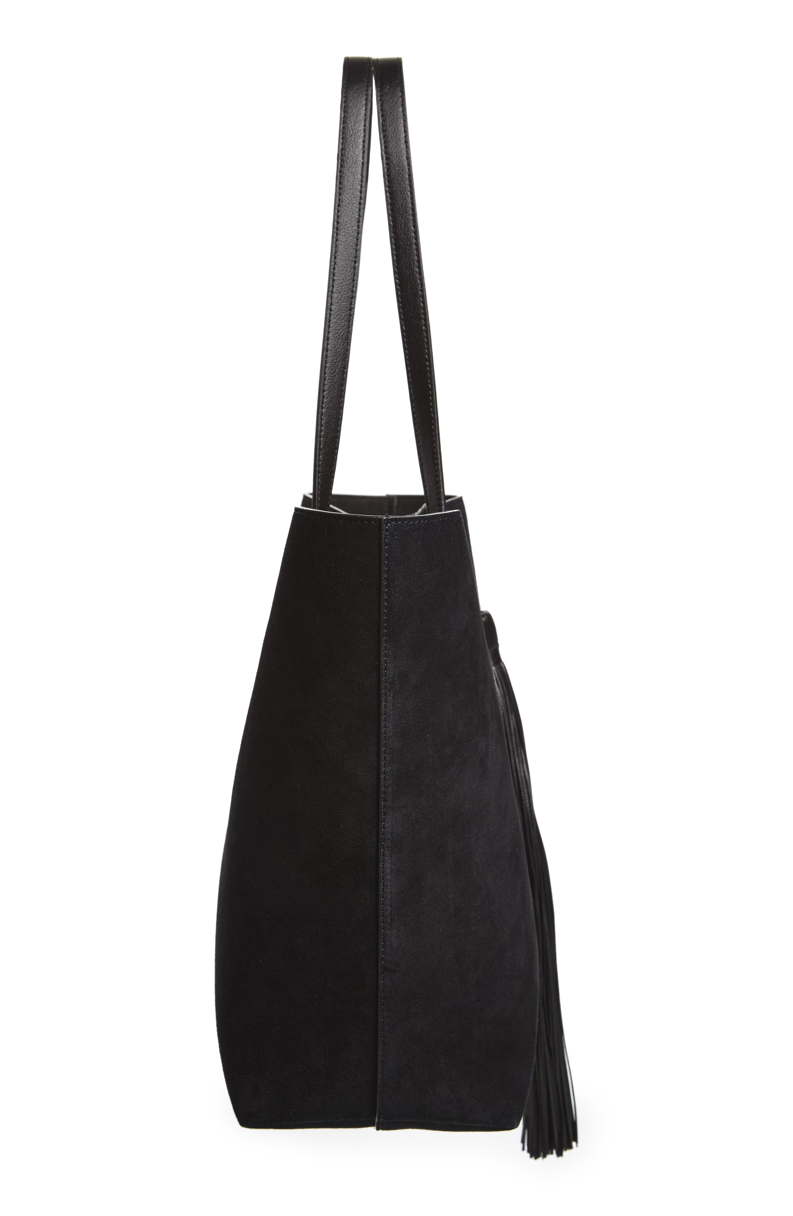 East/West Suede Tote,                             Alternate thumbnail 5, color,                             001