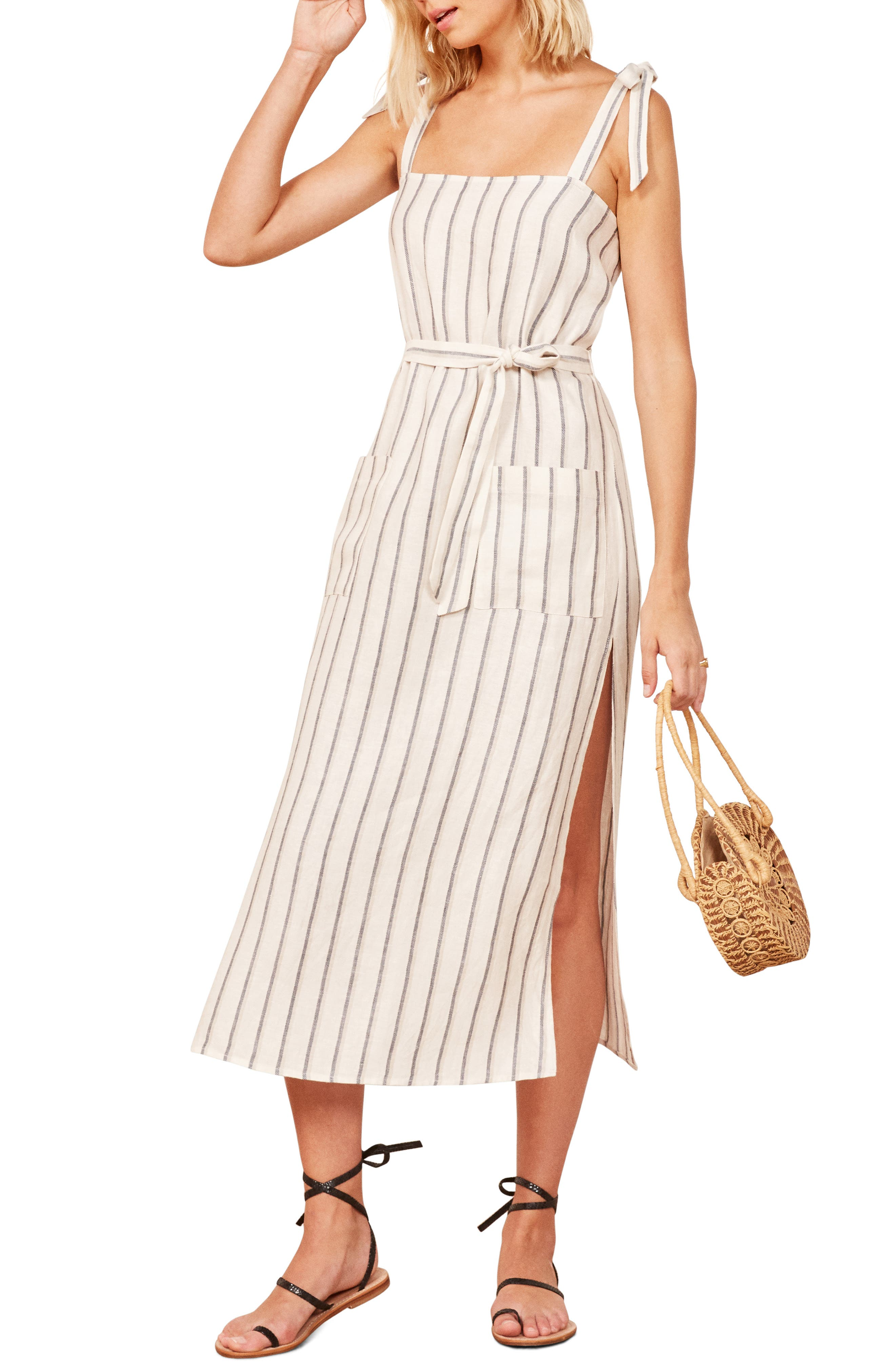 REFORMATION Elliot Midi Dress, Main, color, 100