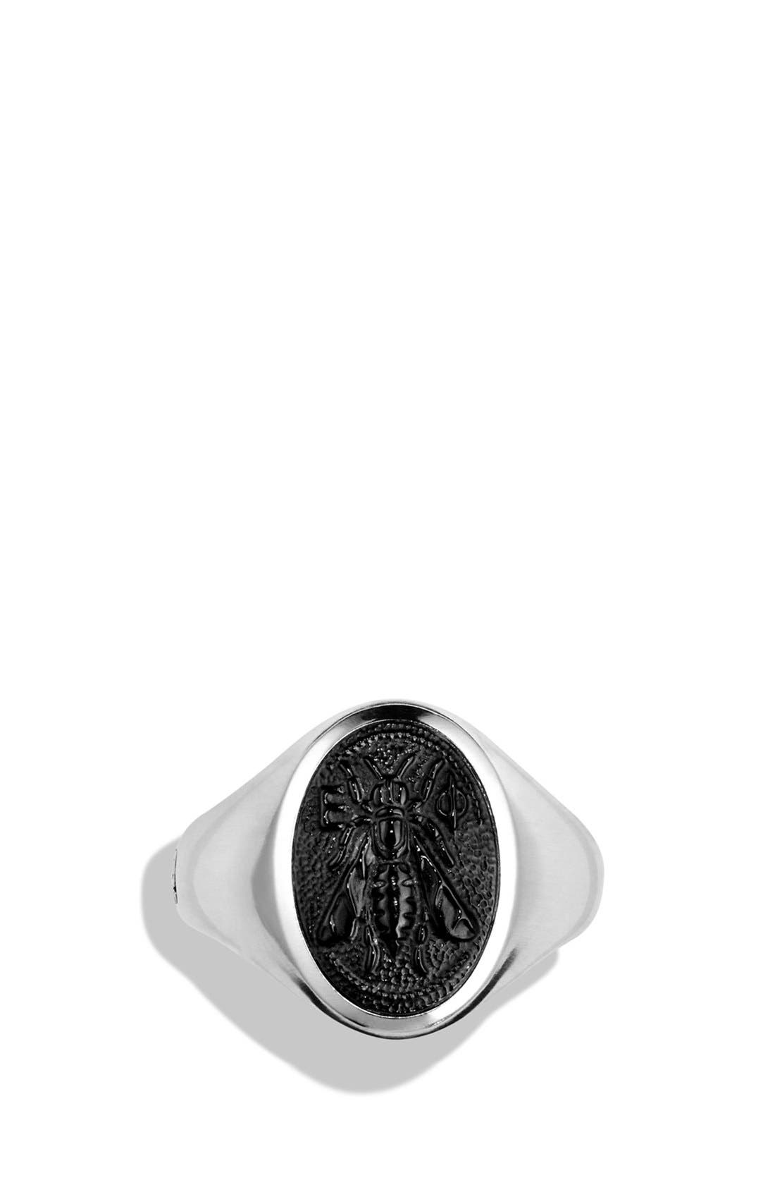 'Petrvs' Bee Signet Ring with Semiprecious Stone,                             Alternate thumbnail 2, color,                             002