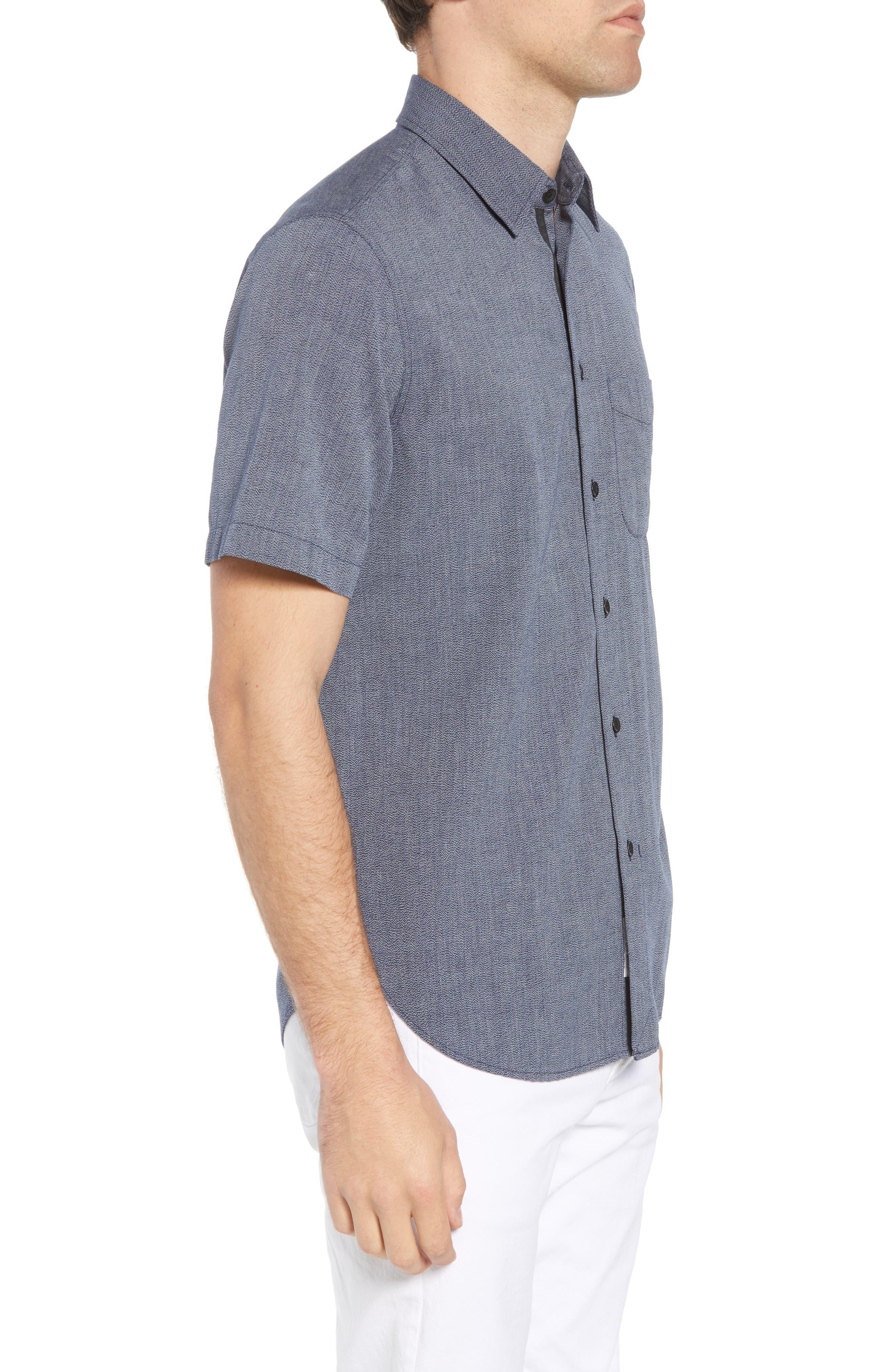 Regular Fit Short Sleeve Sport Shirt,                             Alternate thumbnail 3, color,                             BLUE