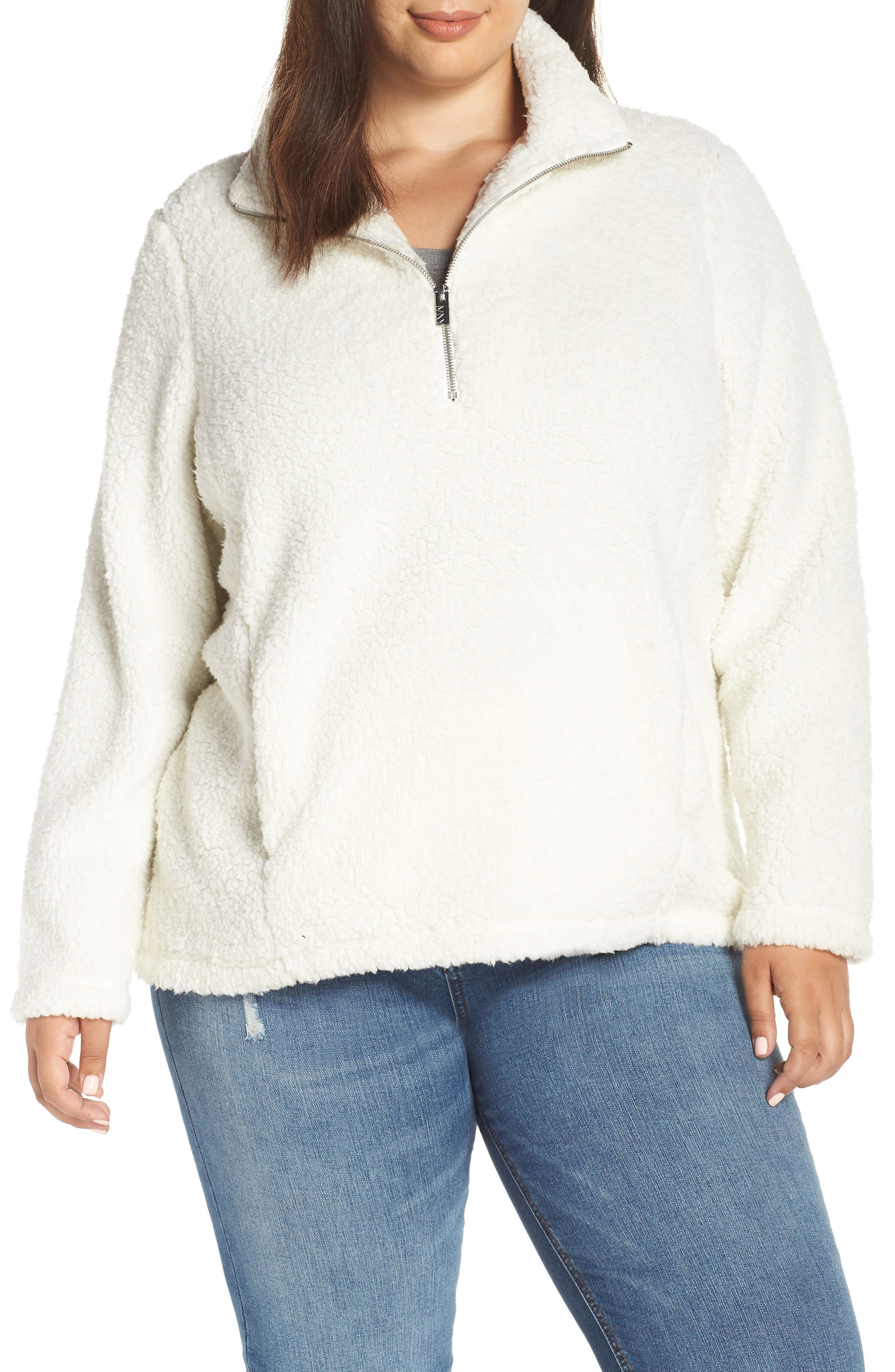 Teddy Fleece Quarter Zip Jacket, Main, color, 900