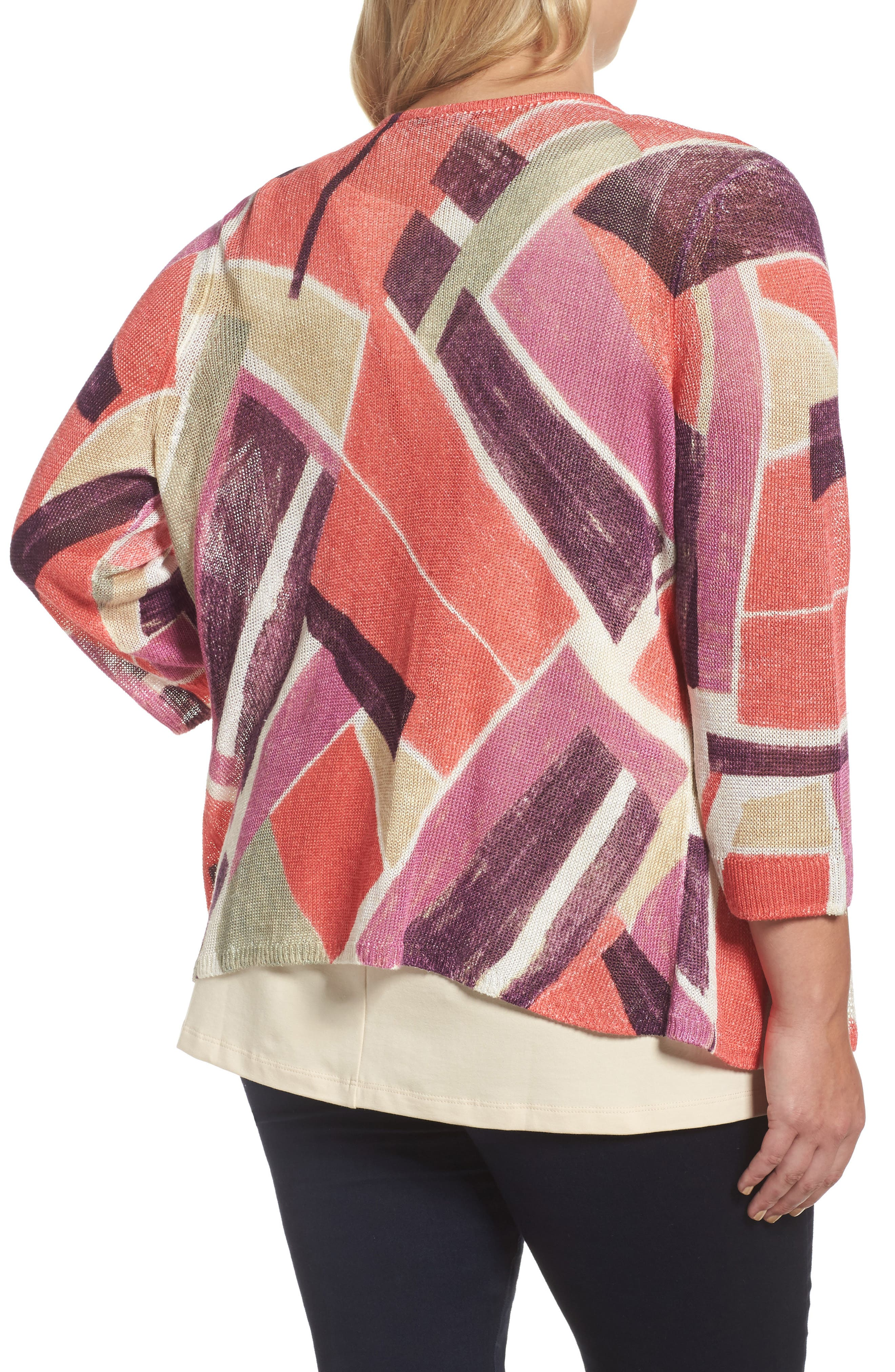 Bold Blocked Drape Front Cardigan,                             Alternate thumbnail 2, color,                             MULTI