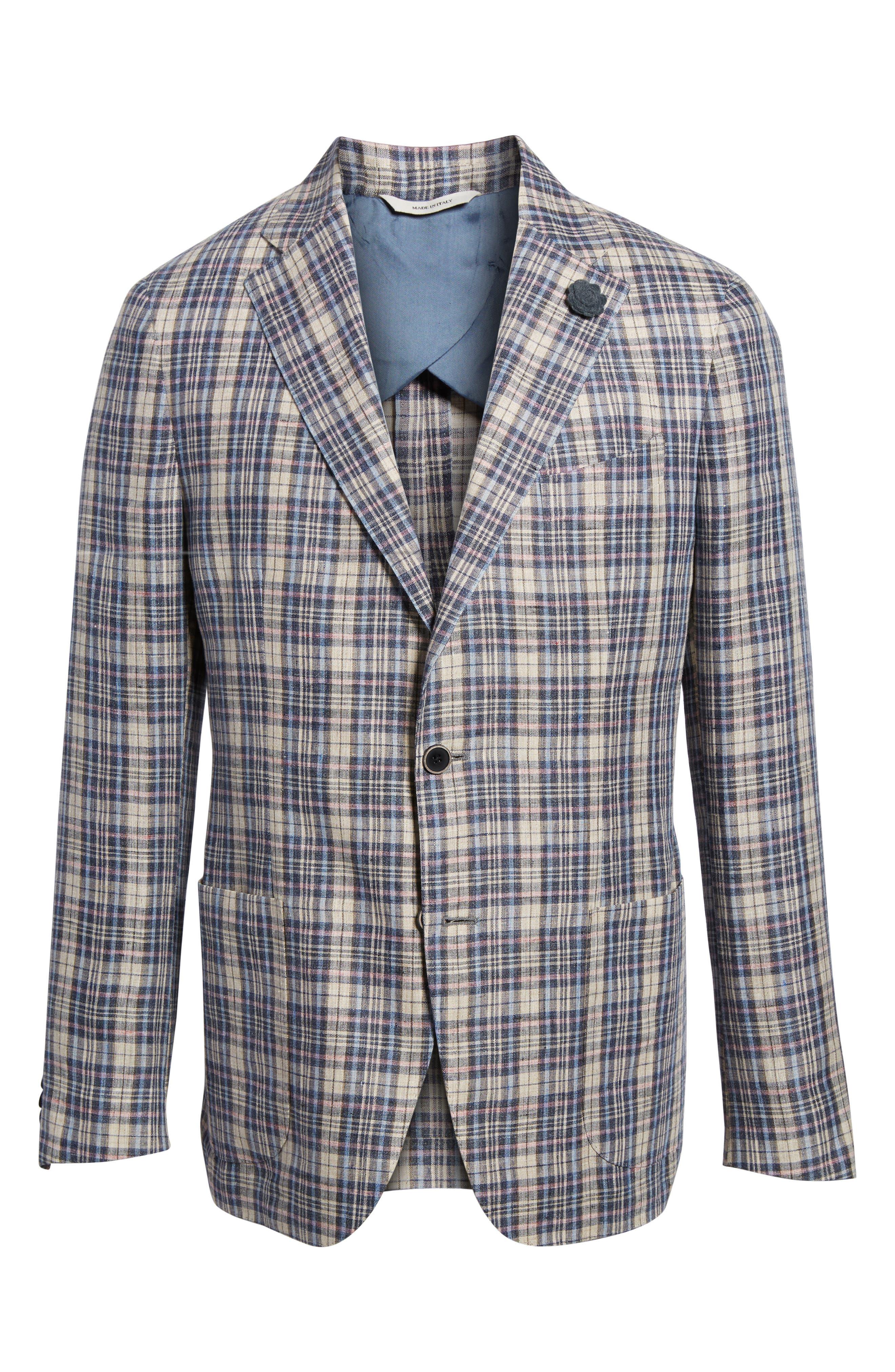 Trim Fit Plaid Linen Sport Coat,                             Alternate thumbnail 5, color,                             250