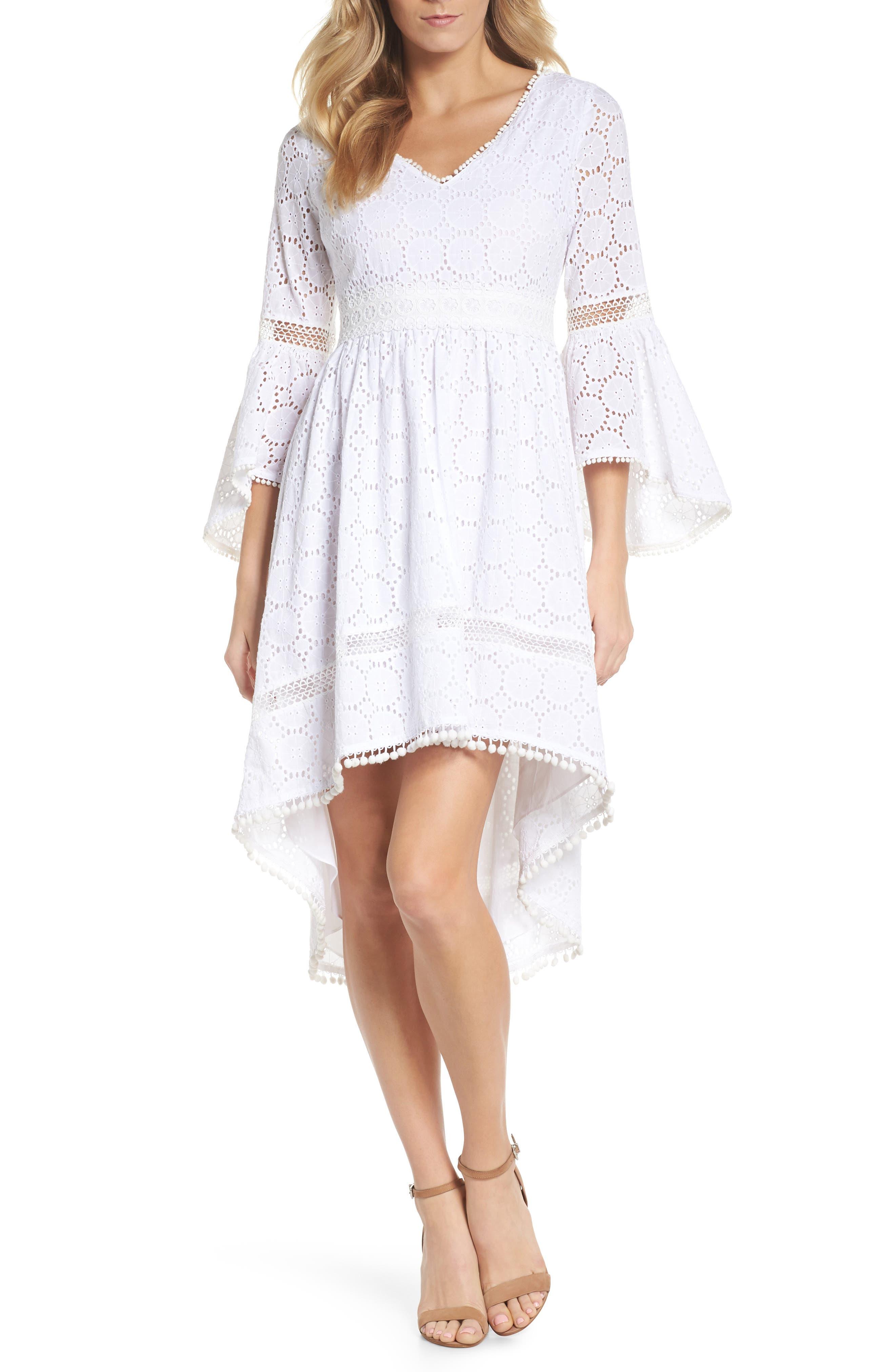 Bell Sleeve High/Low Eyelet Dress,                             Main thumbnail 1, color,                             112