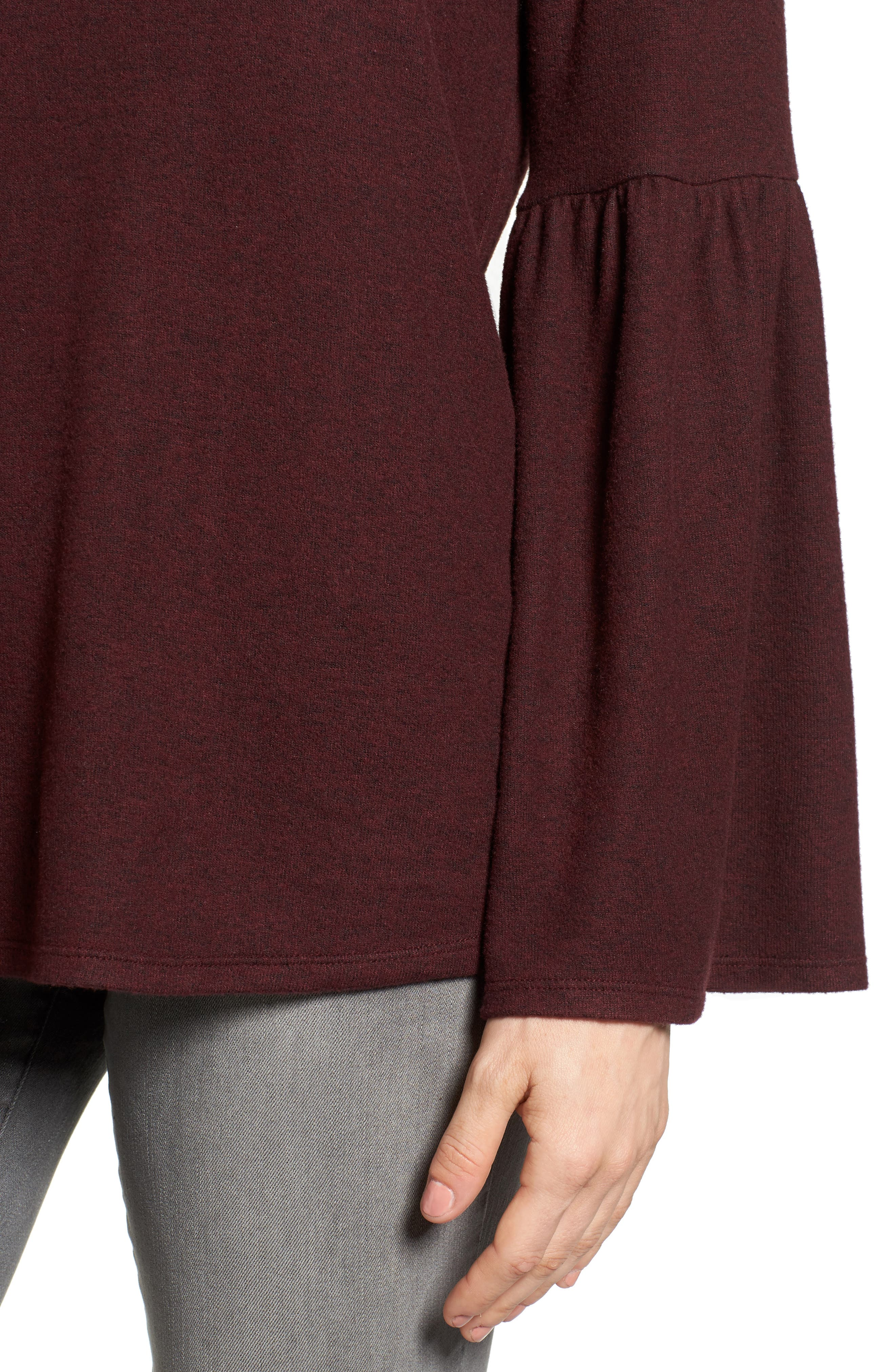 Bell Sleeve Cozy Fleece Pullover,                             Alternate thumbnail 48, color,