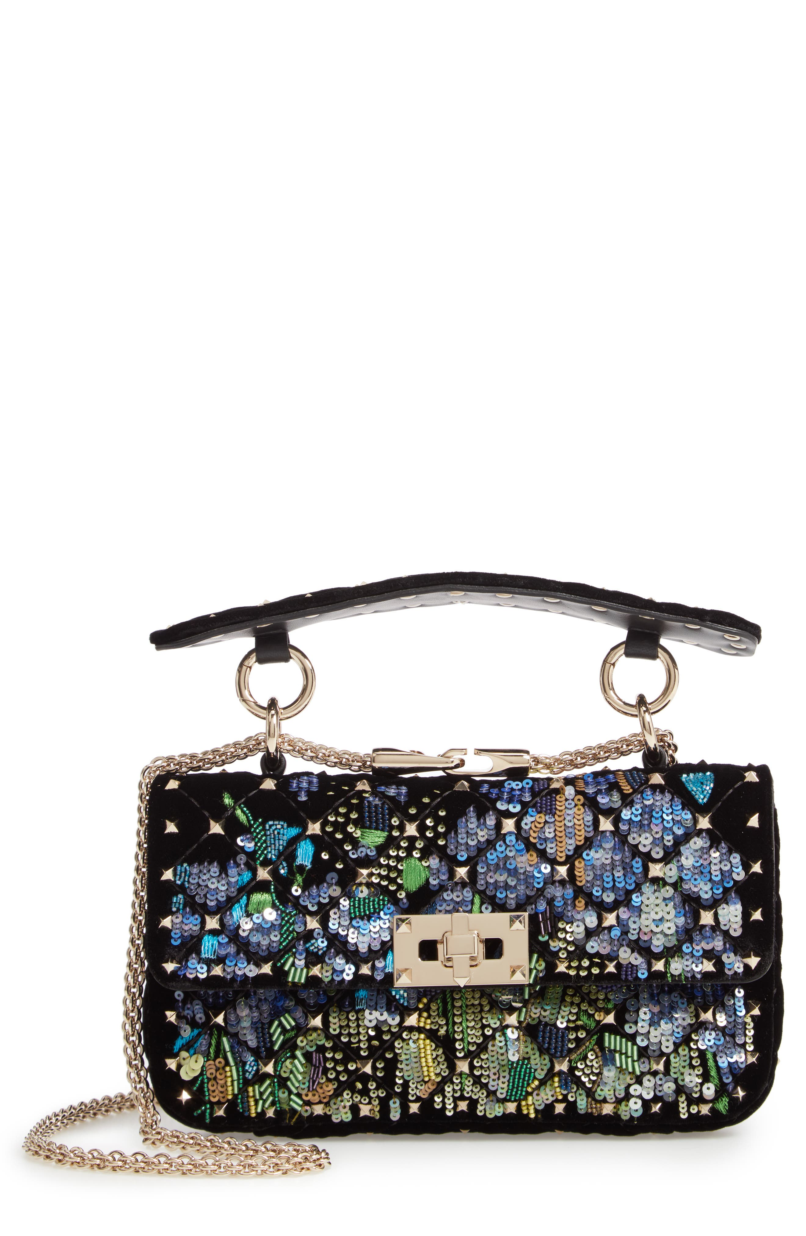 Small Spike.It Floral Sequin Bag, Main, color, NERO