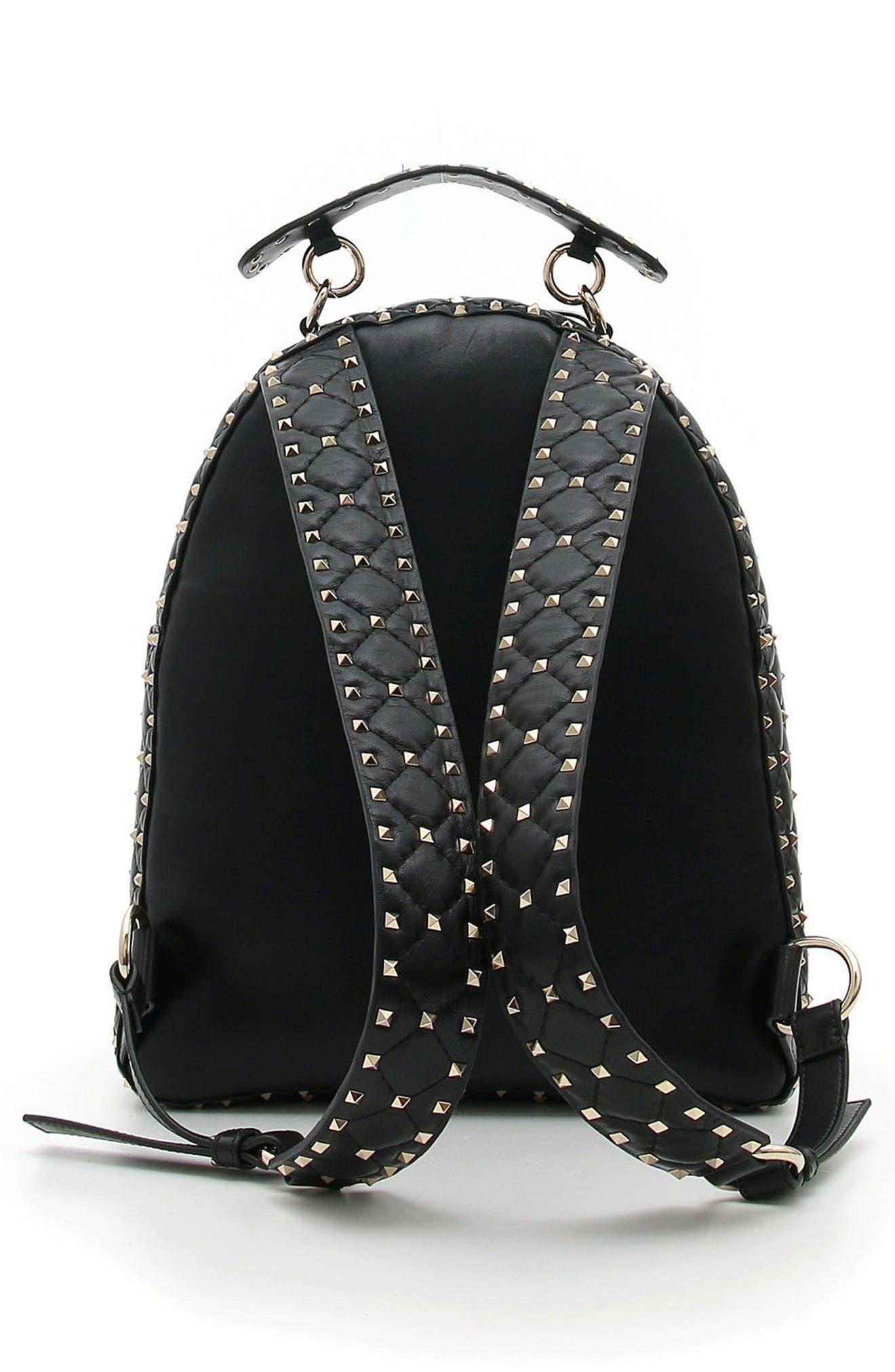Rockstud Spike Quilted Leather Backpack,                             Alternate thumbnail 2, color,                             BLACK