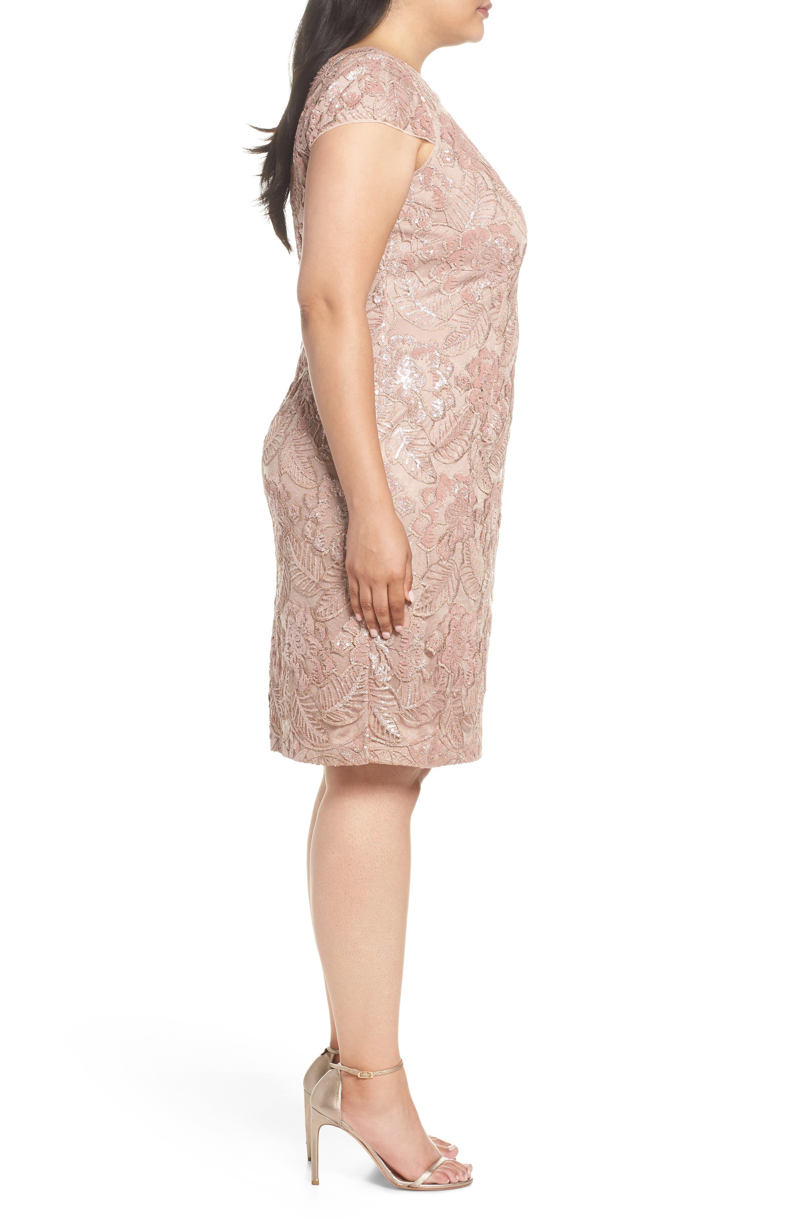 Sequin Lace Cocktail Dress,                             Alternate thumbnail 3, color,                             ROSE GOLD