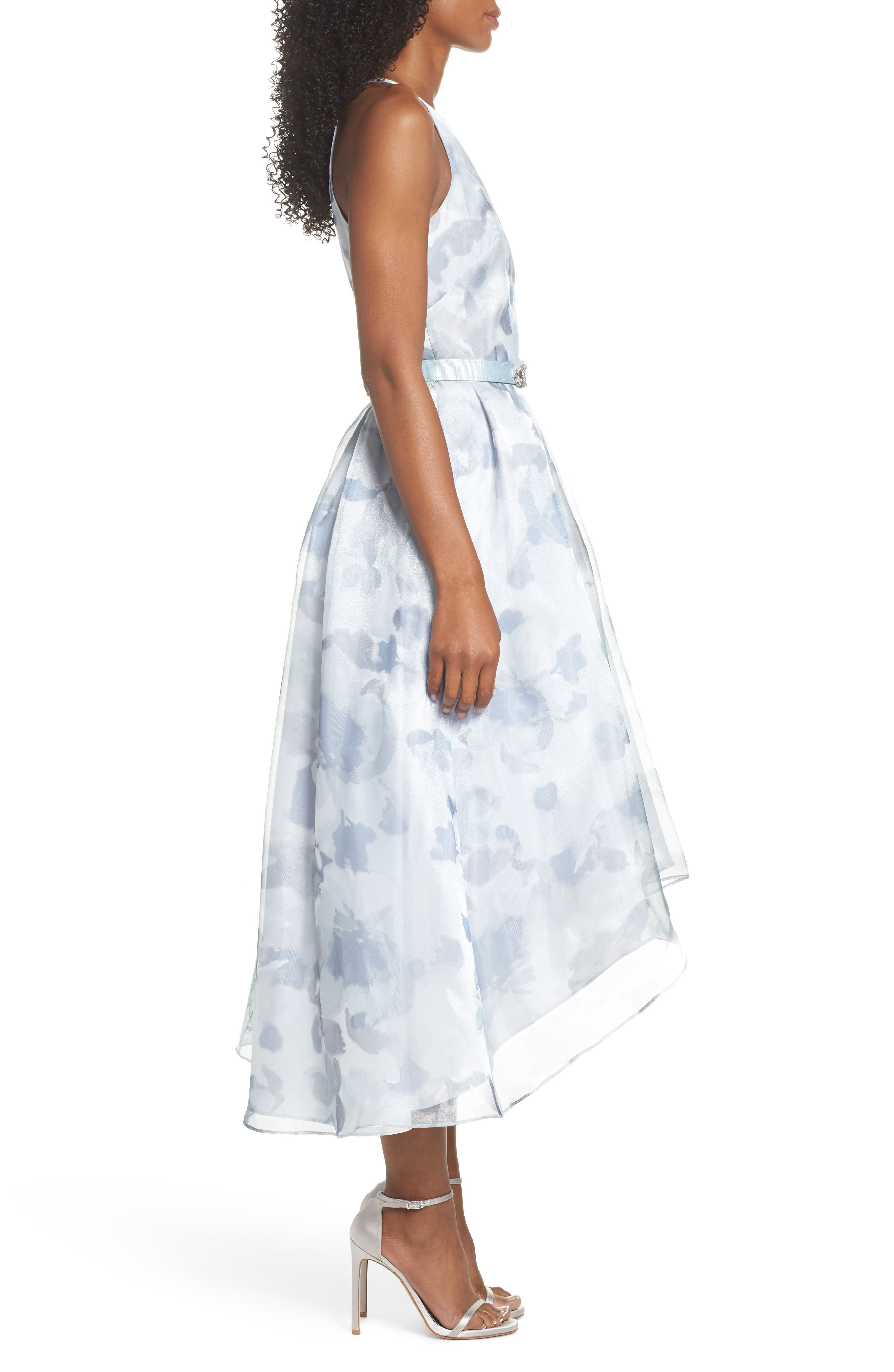 Belted Halter High/Low Dress,                             Alternate thumbnail 3, color,                             400