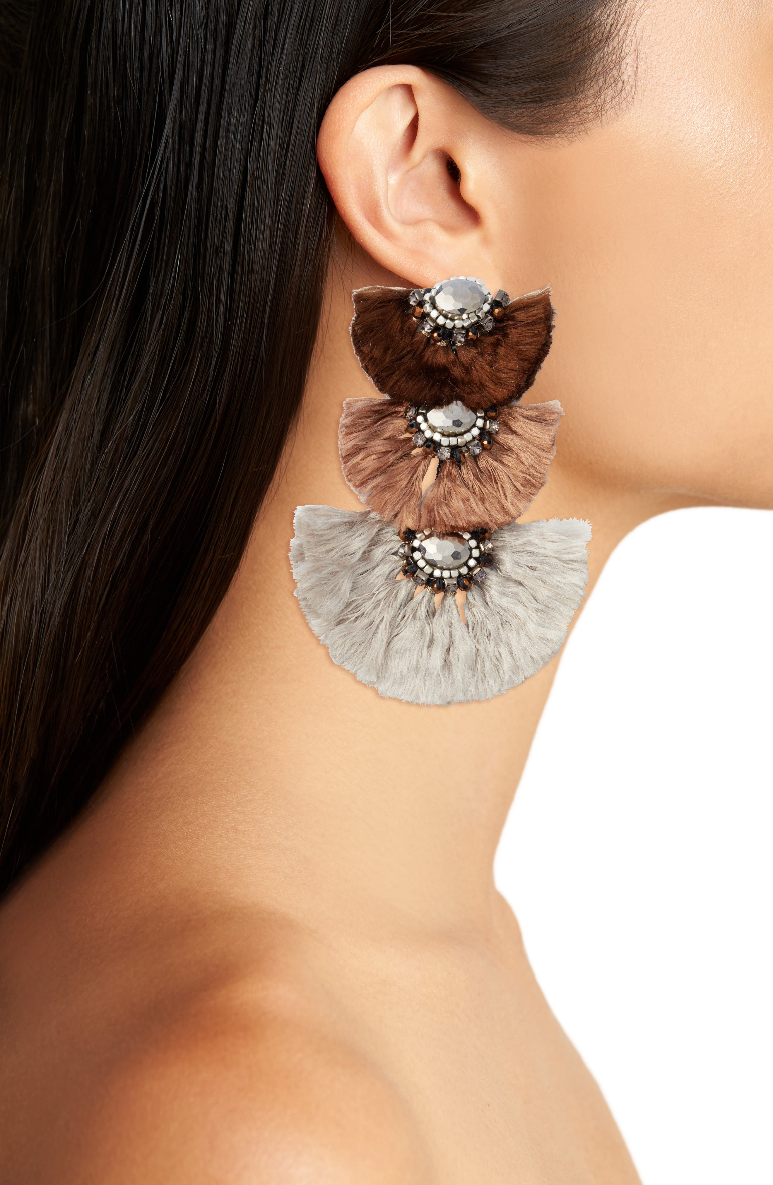 NAKAMOL DESIGN,                             Triple Drop Fringe Earrings,                             Alternate thumbnail 2, color,                             250