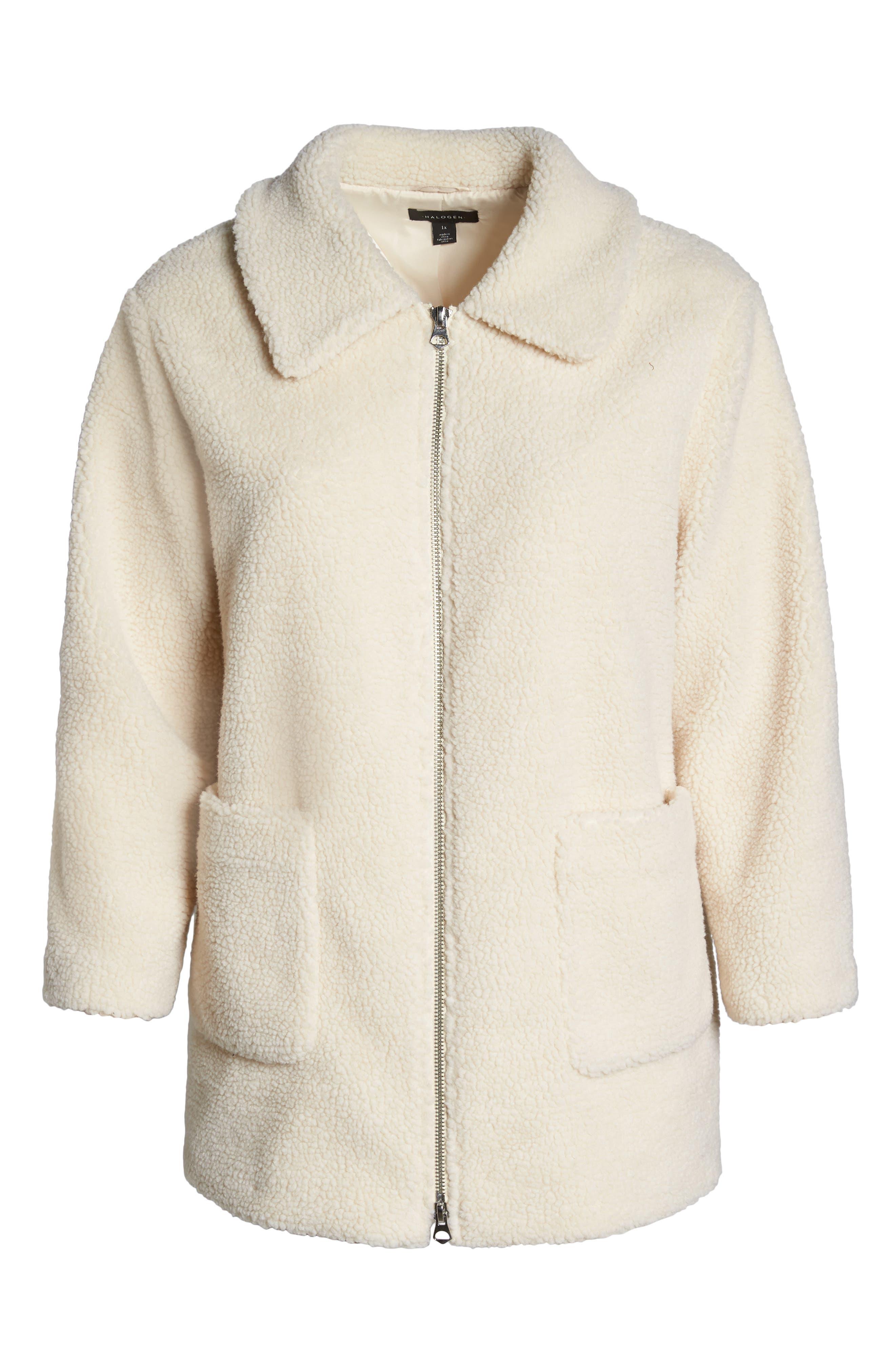 Zip Front Teddy Coat,                             Alternate thumbnail 6, color,                             IVORY