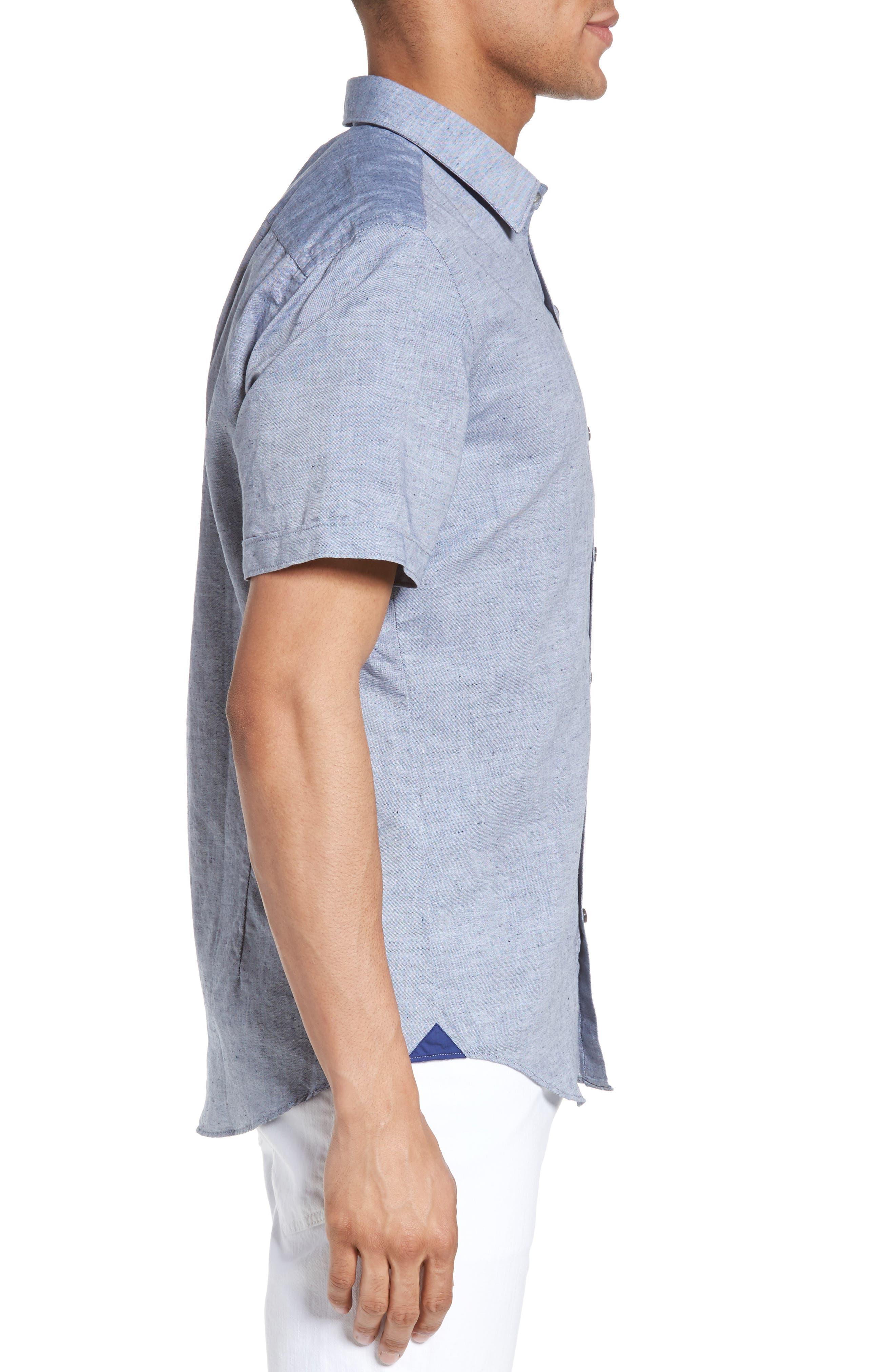 Robbie Slim Fit Linen & Cotton Shirt,                             Alternate thumbnail 3, color,                             402