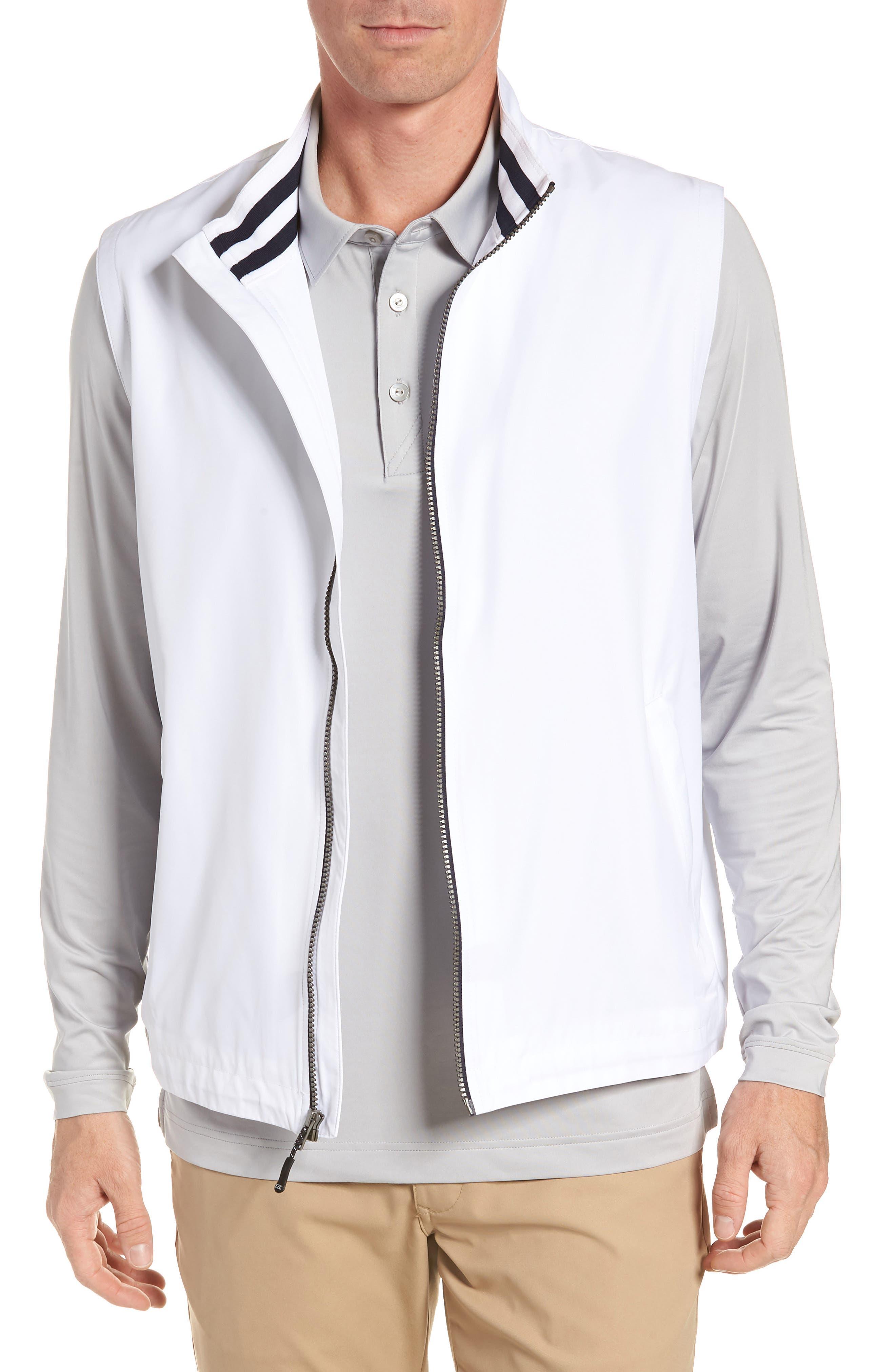 Cutter & Buck Nine Iron Drytec Zip Vest, White
