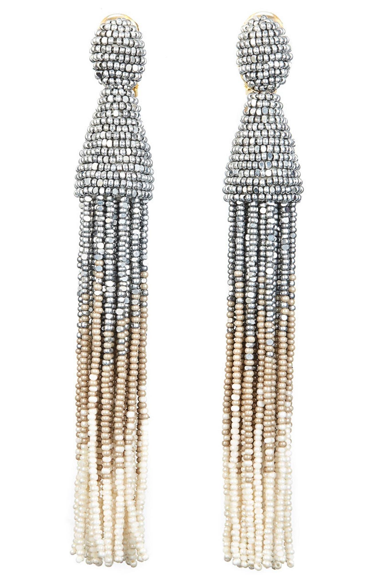 Ombré Long Tassel Clip Earrings,                             Main thumbnail 1, color,                             042